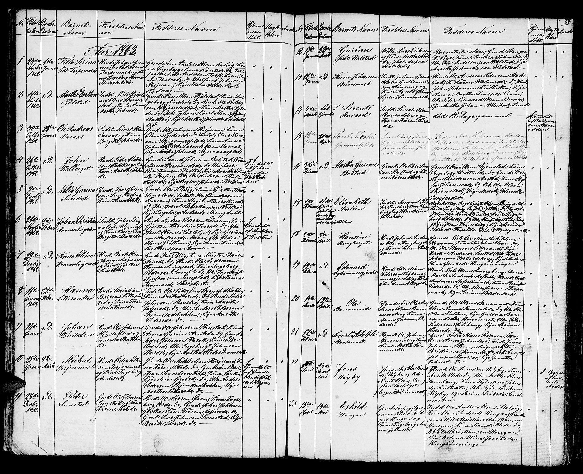 SAT, Ministerialprotokoller, klokkerbøker og fødselsregistre - Sør-Trøndelag, 616/L0422: Klokkerbok nr. 616C05, 1850-1888, s. 34