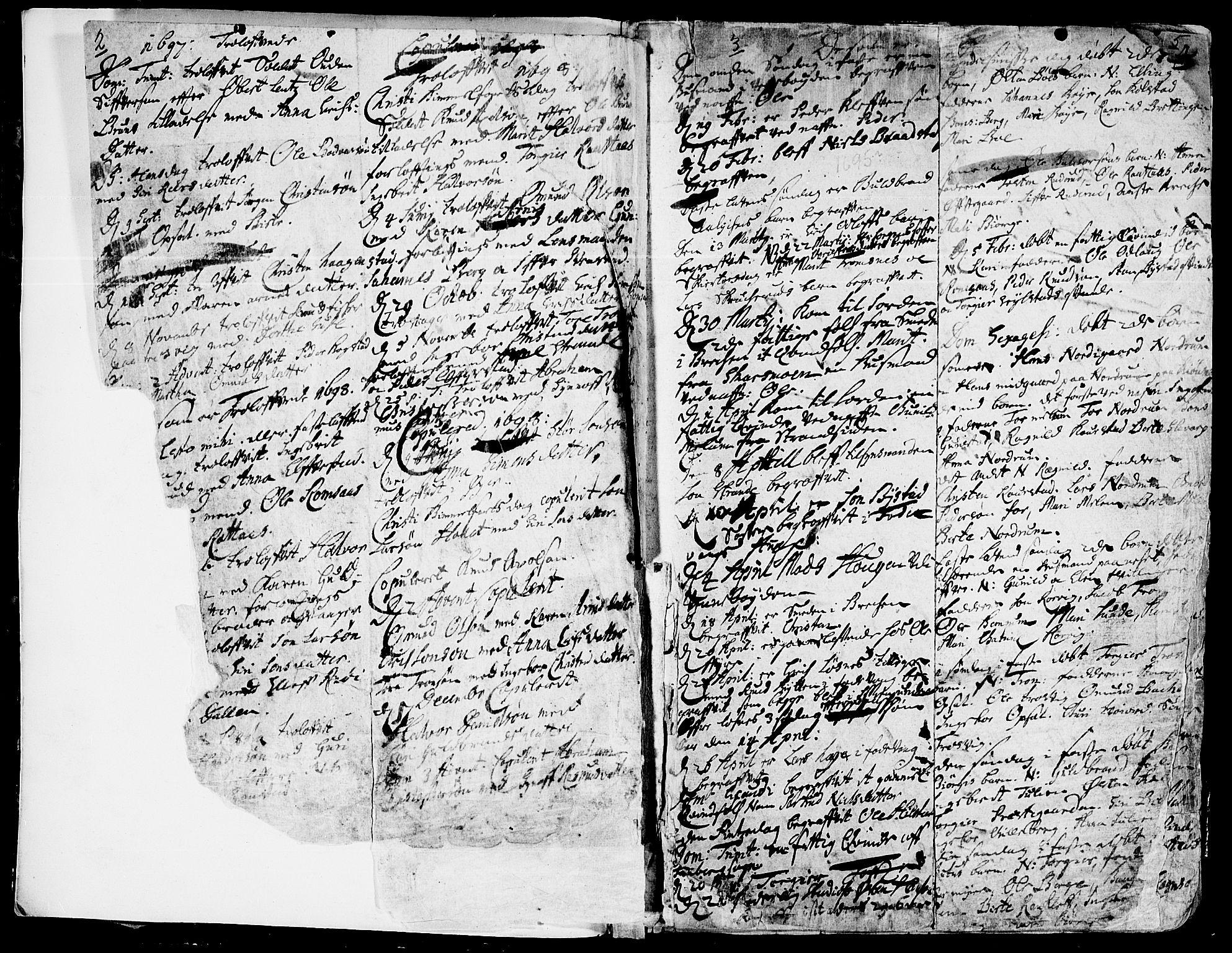 SAH, Ringebu prestekontor, Ministerialbok nr. 1, 1696-1733, s. 2-5