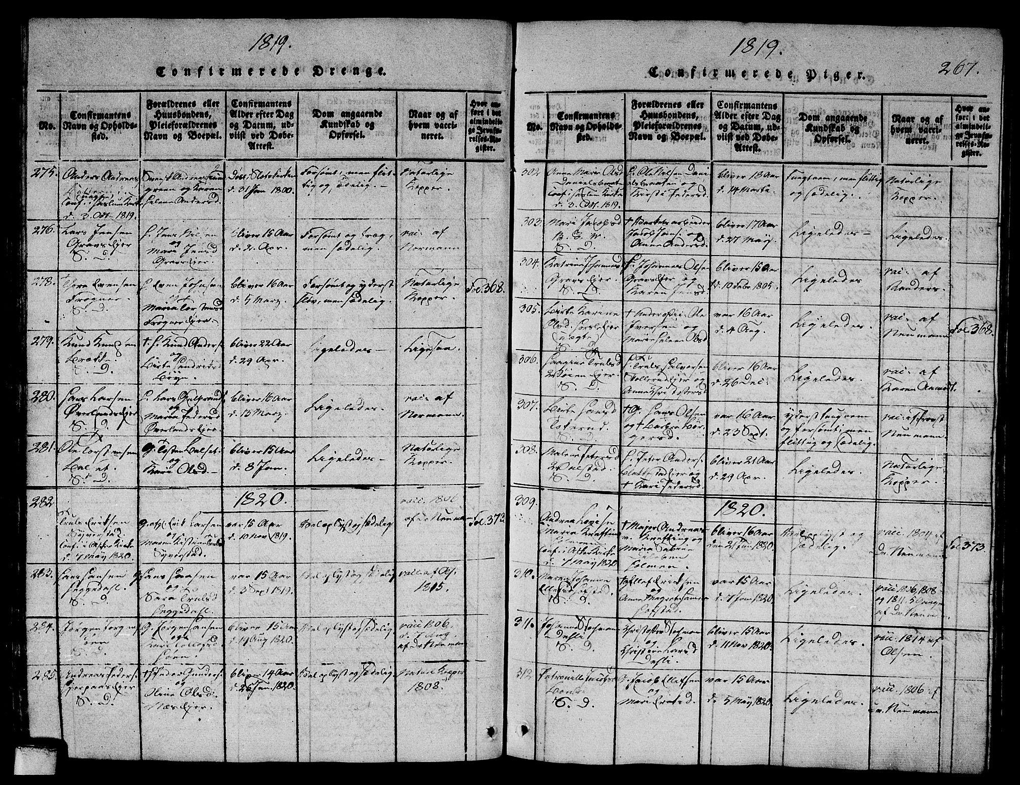SAO, Asker prestekontor Kirkebøker, G/Ga/L0001: Klokkerbok nr. I 1, 1814-1830, s. 267