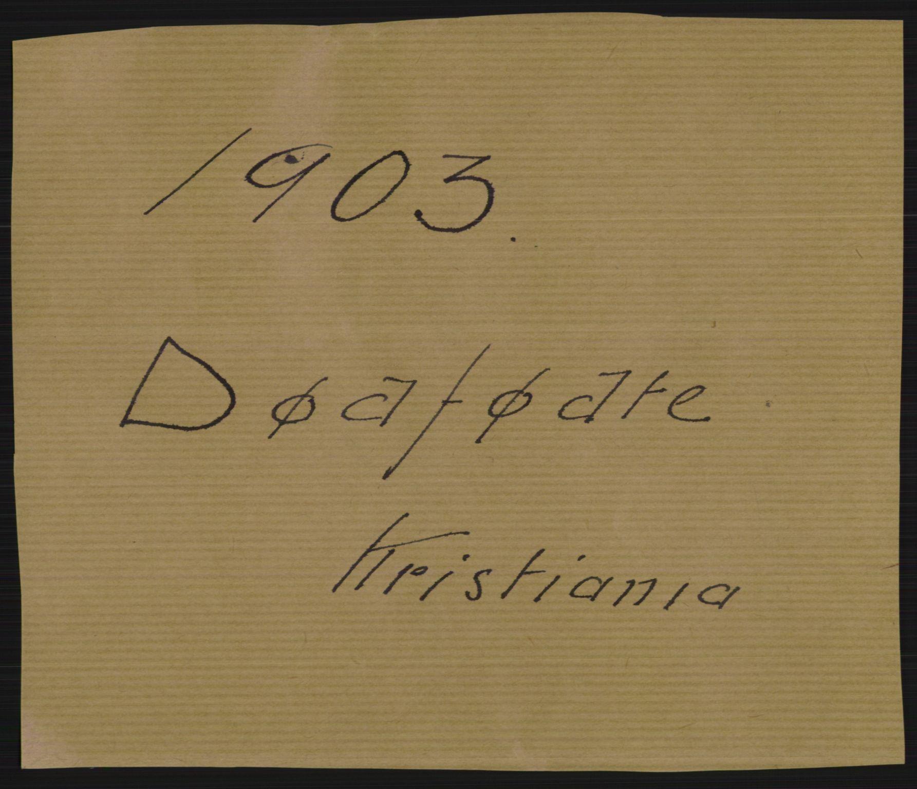 RA, Statistisk sentralbyrå, Sosiodemografiske emner, Befolkning, D/Df/Dfa/Dfaa/L0026: Smålenenes - Finnmarkens amt: Dødfødte. Byer., 1903
