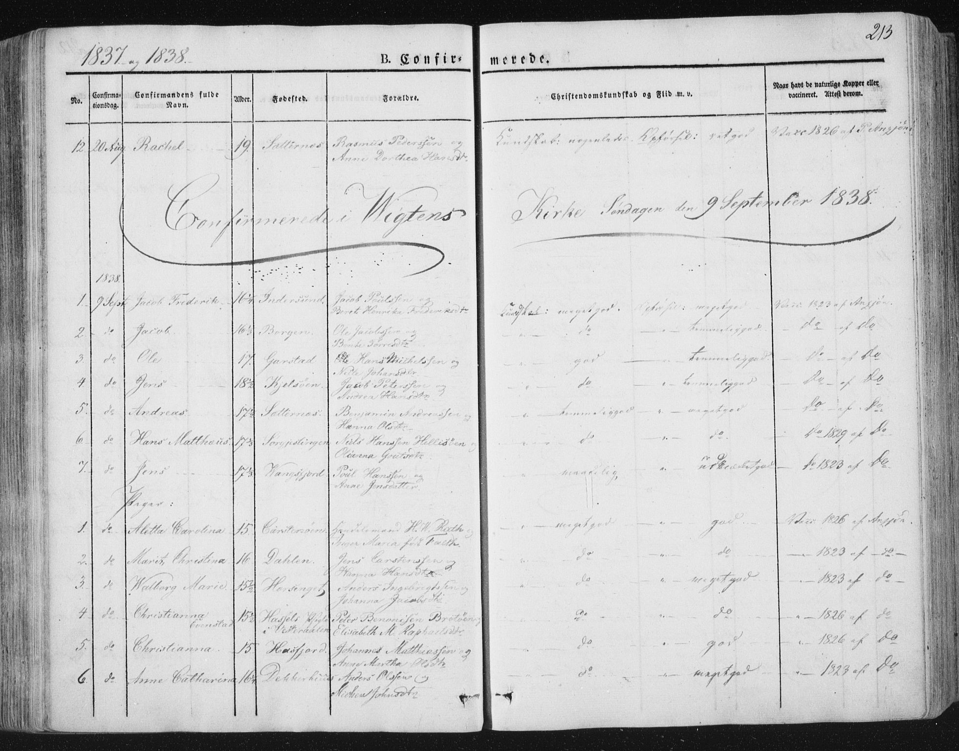 SAT, Ministerialprotokoller, klokkerbøker og fødselsregistre - Nord-Trøndelag, 784/L0669: Ministerialbok nr. 784A04, 1829-1859, s. 213