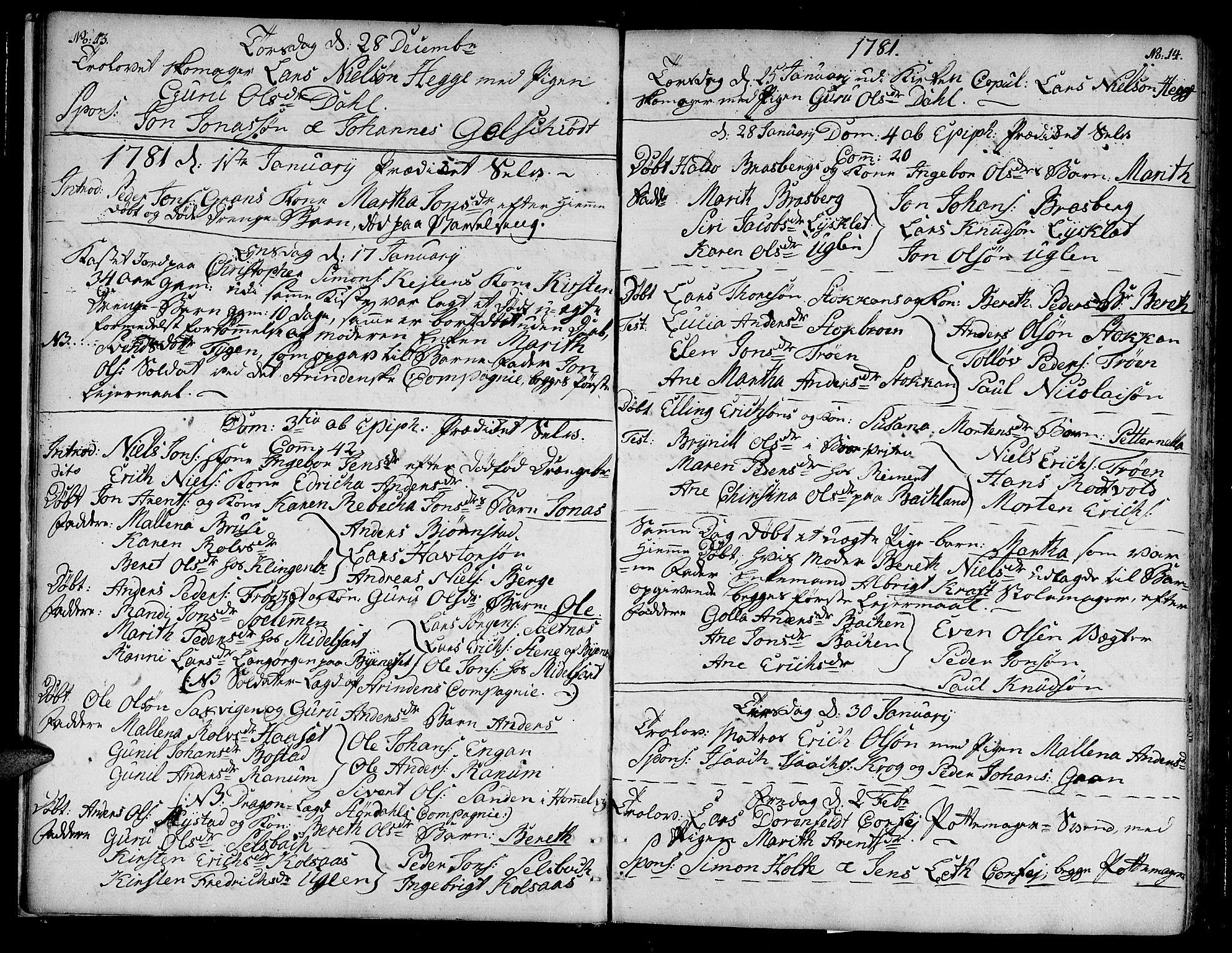 SAT, Ministerialprotokoller, klokkerbøker og fødselsregistre - Sør-Trøndelag, 604/L0180: Ministerialbok nr. 604A01, 1780-1797, s. 13-14