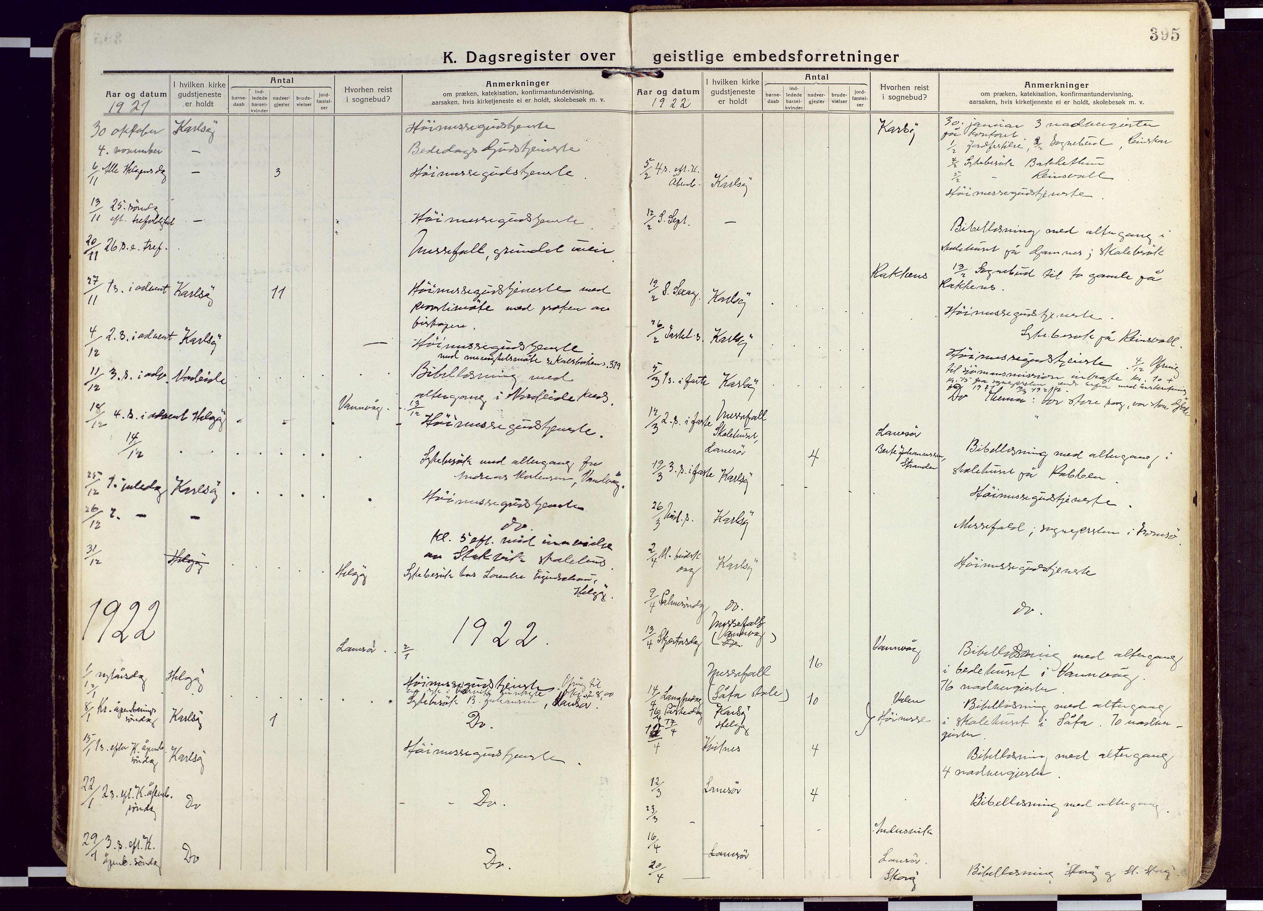 SATØ, Karlsøy sokneprestembete, Ministerialbok nr. 15, 1918-1929, s. 395