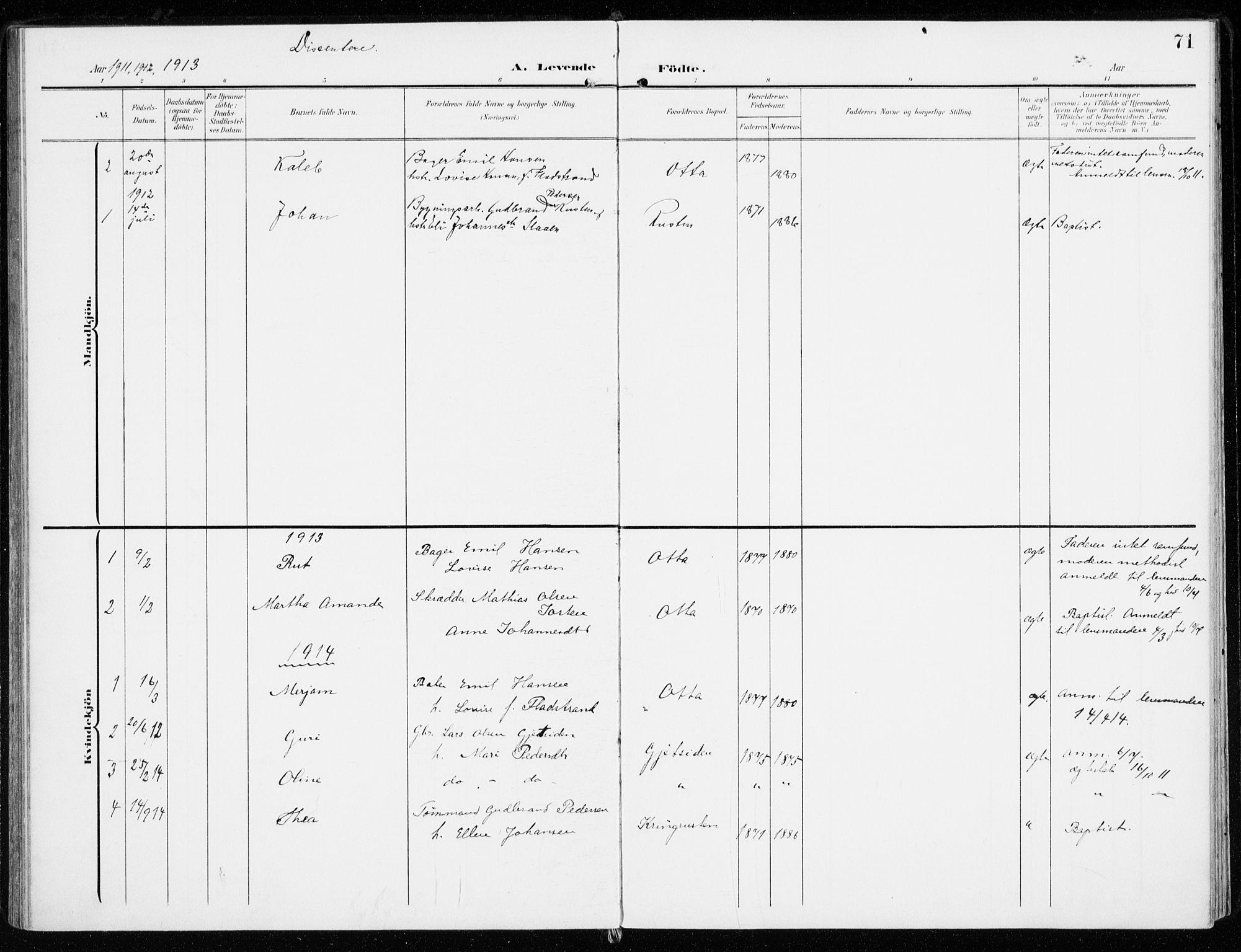 SAH, Sel prestekontor, Ministerialbok nr. 2, 1905-1919, s. 71