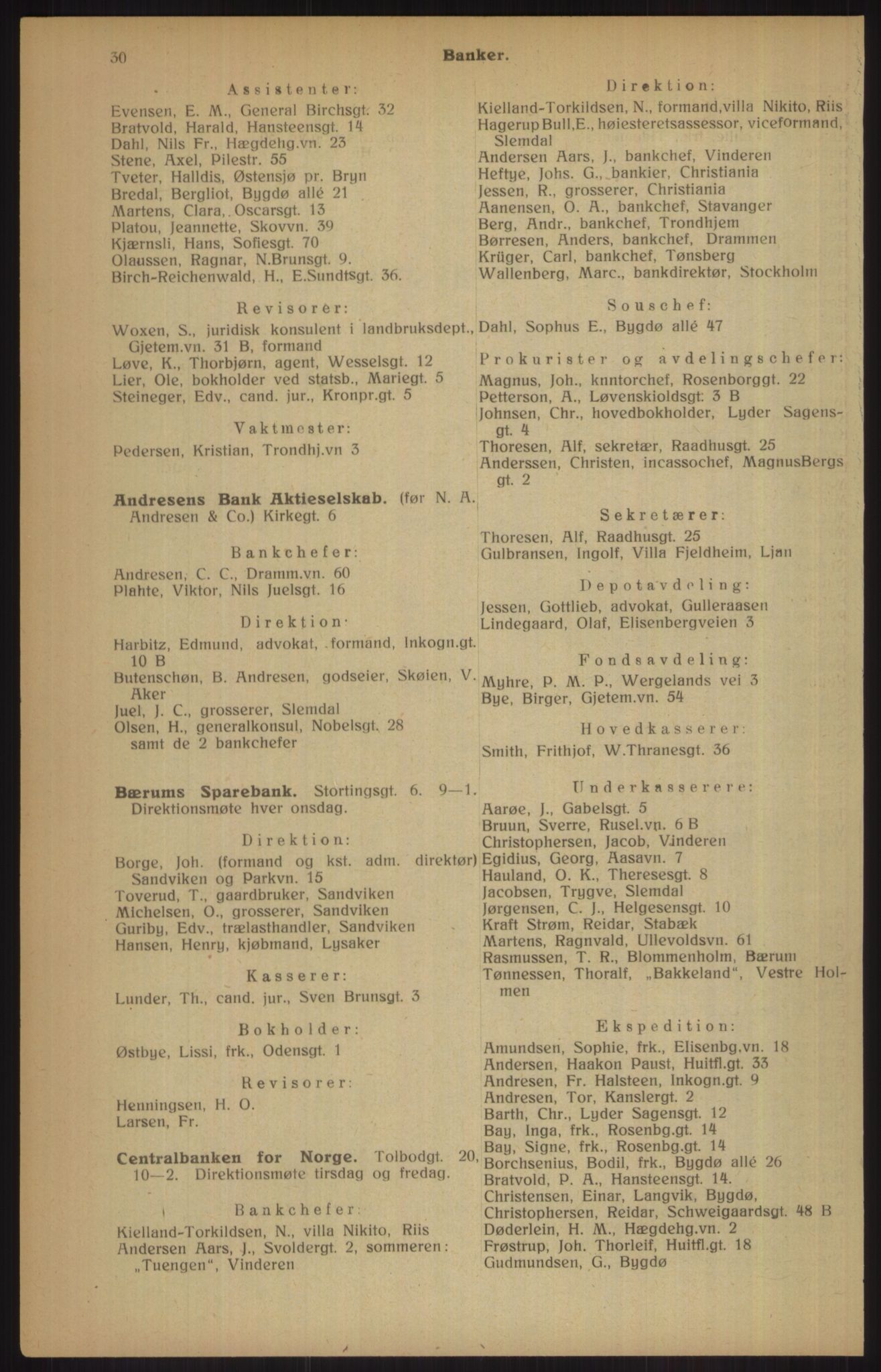 RA, Kristiania adressebok (publikasjon)*, 1915, s. 30