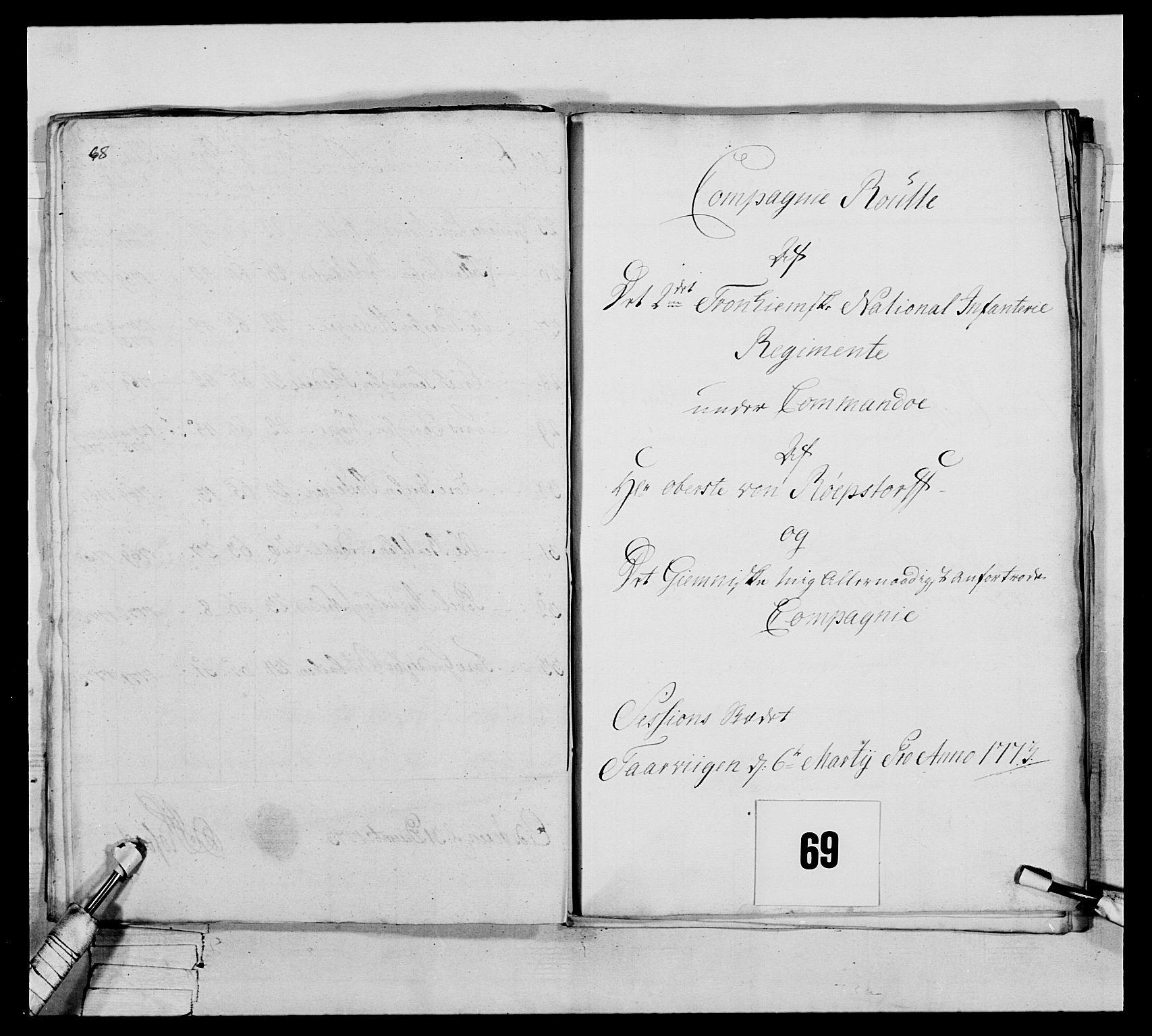 RA, Generalitets- og kommissariatskollegiet, Det kongelige norske kommissariatskollegium, E/Eh/L0076: 2. Trondheimske nasjonale infanteriregiment, 1766-1773, s. 283