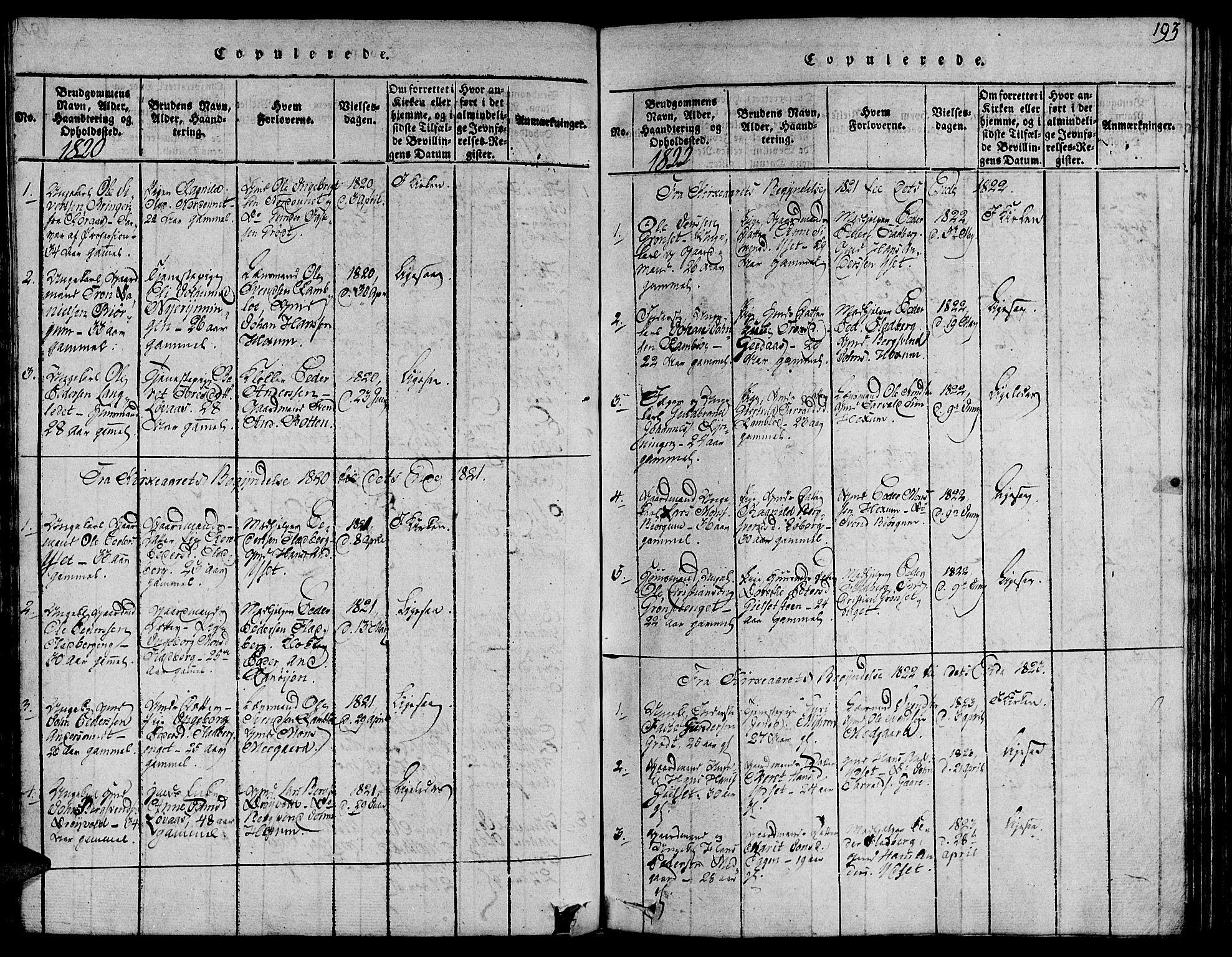 SAT, Ministerialprotokoller, klokkerbøker og fødselsregistre - Sør-Trøndelag, 685/L0954: Ministerialbok nr. 685A03 /1, 1817-1829, s. 193