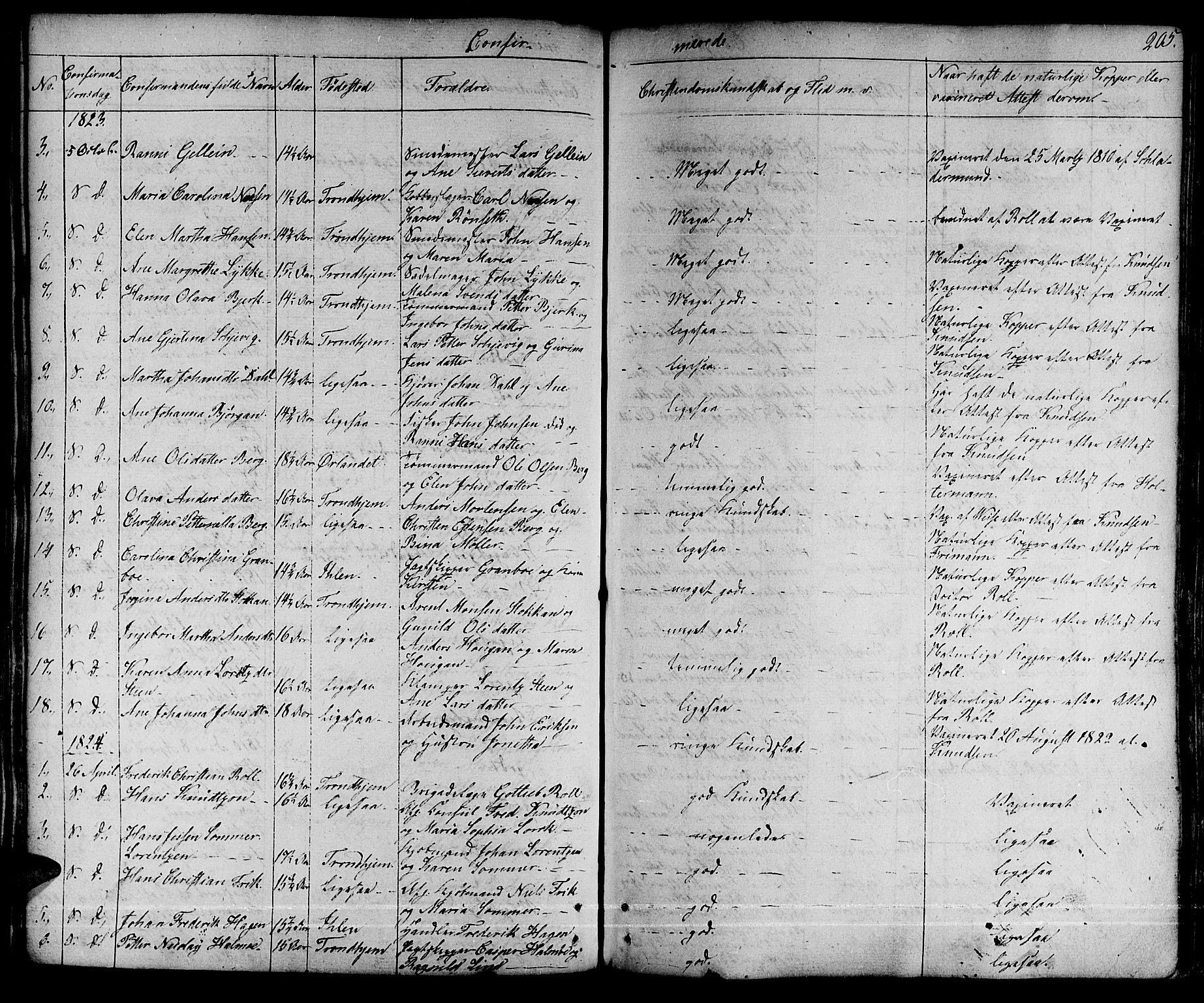 SAT, Ministerialprotokoller, klokkerbøker og fødselsregistre - Sør-Trøndelag, 601/L0045: Ministerialbok nr. 601A13, 1821-1831, s. 205