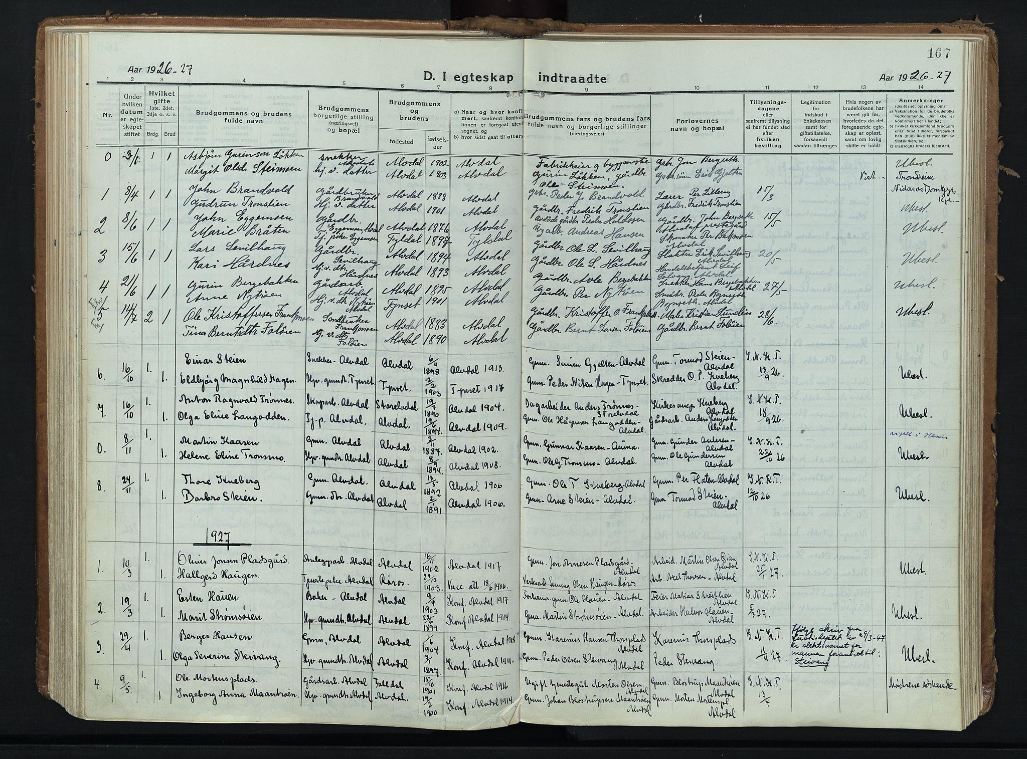 SAH, Alvdal prestekontor, Ministerialbok nr. 6, 1920-1937, s. 167