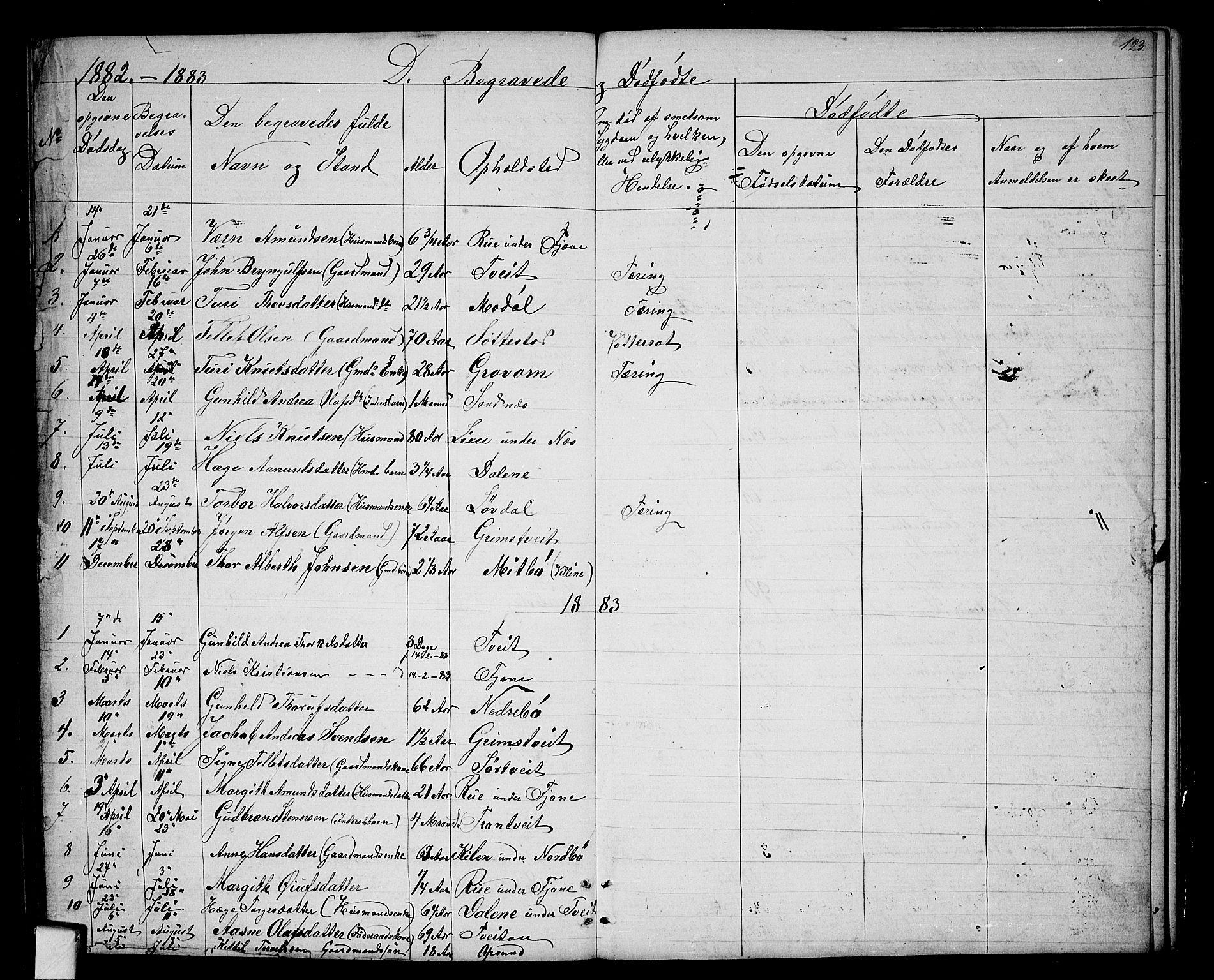 SAKO, Nissedal kirkebøker, G/Ga/L0002: Klokkerbok nr. I 2, 1861-1887, s. 123
