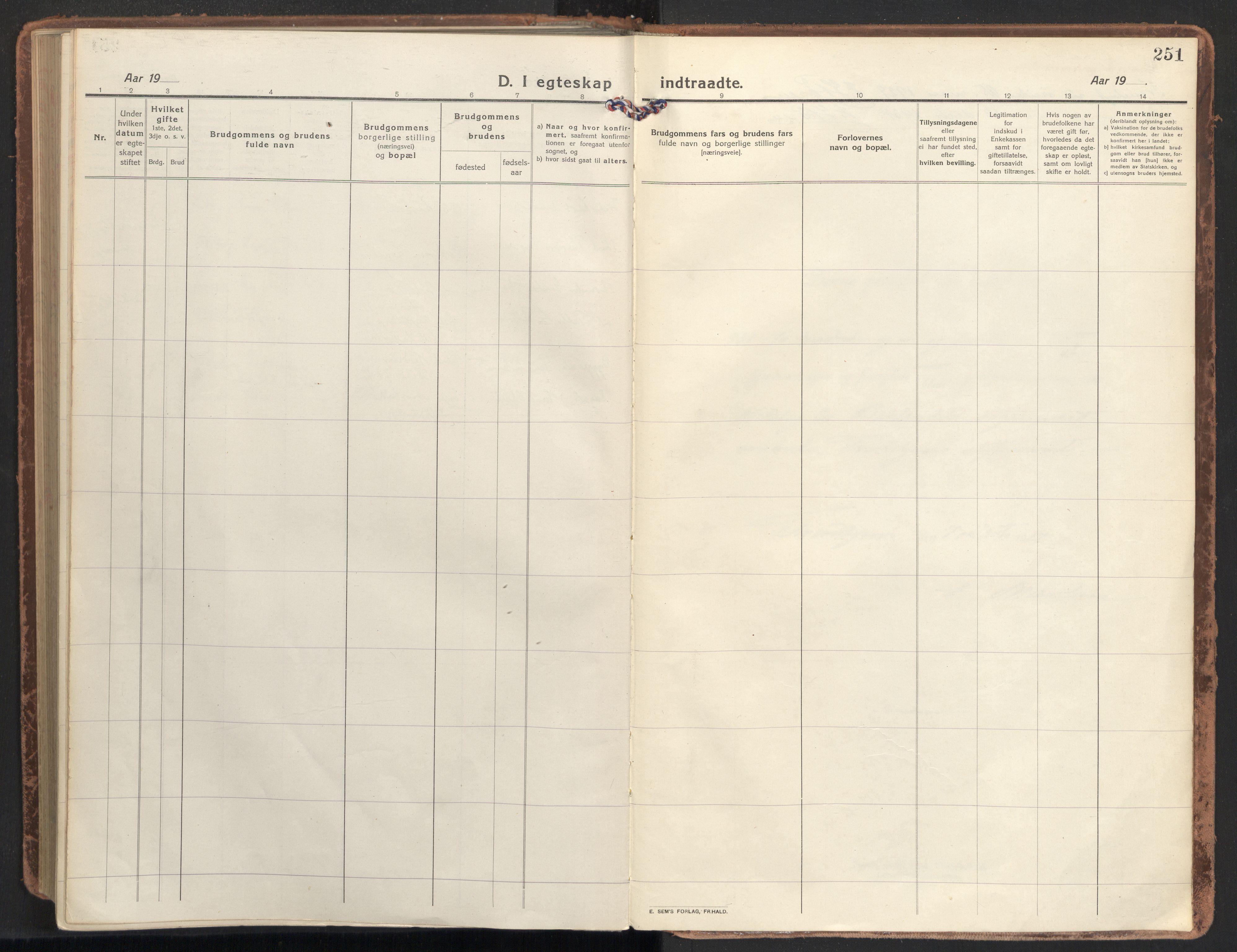 SAT, Ministerialprotokoller, klokkerbøker og fødselsregistre - Sør-Trøndelag, 604/L0206: Ministerialbok nr. 604A26, 1917-1931, s. 251