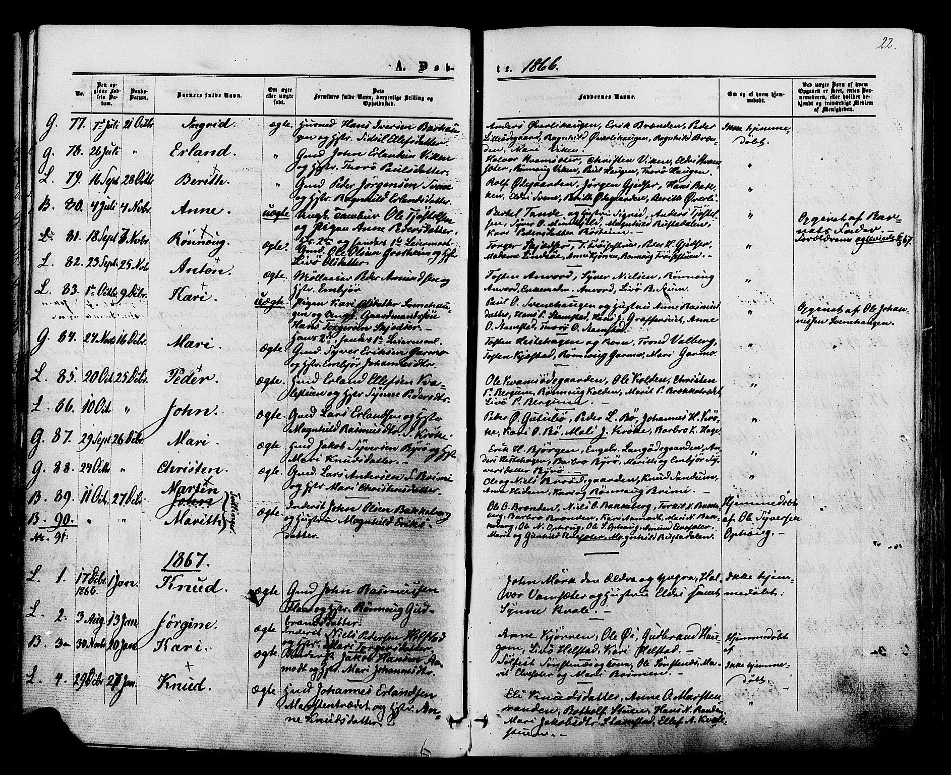 SAH, Lom prestekontor, K/L0007: Ministerialbok nr. 7, 1863-1884, s. 22