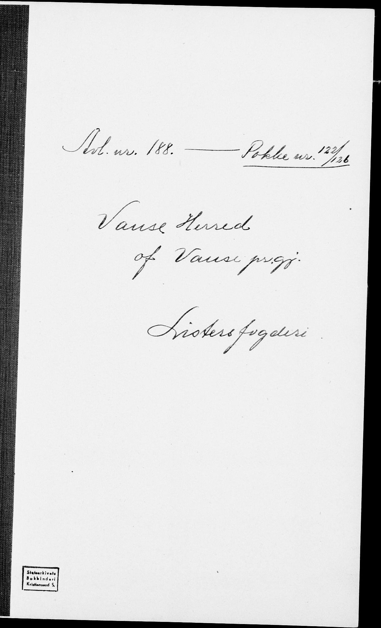 SAK, Folketelling 1875 for 1041L Vanse prestegjeld, Vanse sokn og Farsund landsokn, 1875, s. 1