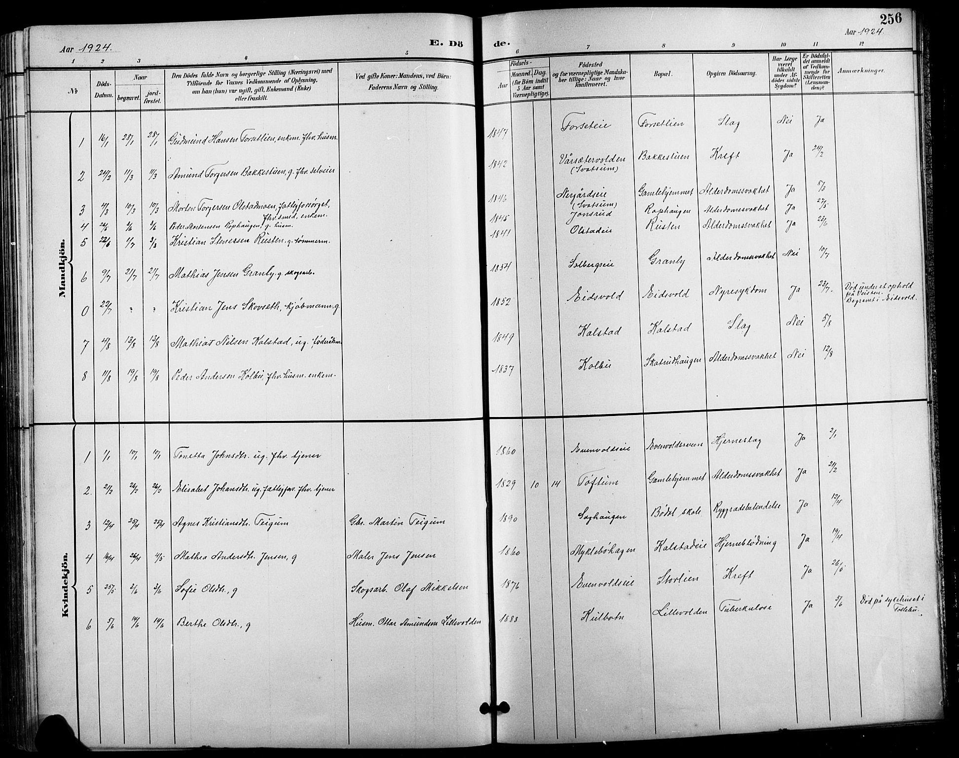 SAH, Vestre Gausdal prestekontor, Klokkerbok nr. 3, 1896-1925, s. 256