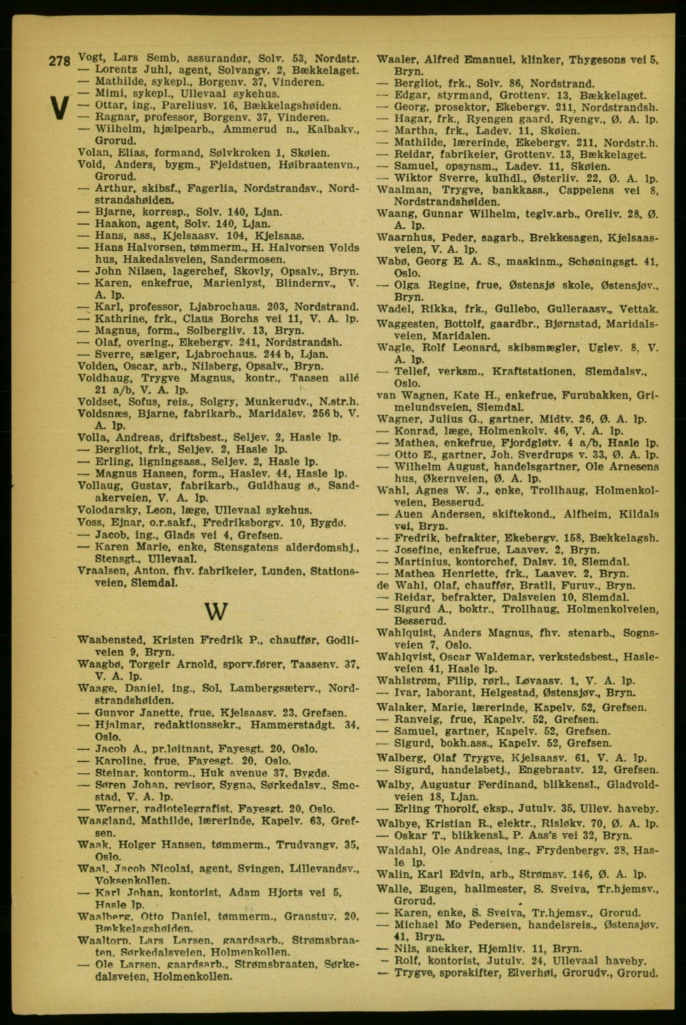 RA, Aker adressebok/adressekalender (publikasjon)*, 1929, s. 278