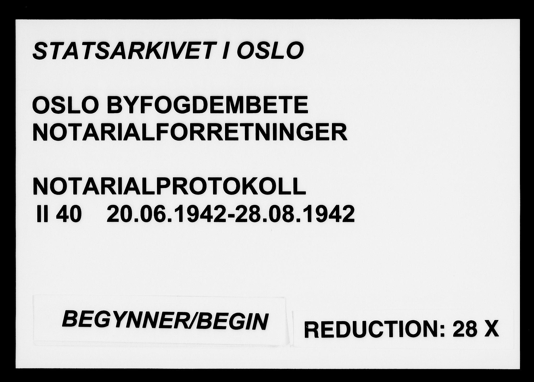SAO, Oslo byfogd avd. I, L/Lb/Lbb/L0040: Notarialprotokoll, rekke II: Vigsler, 1942, s. upaginert