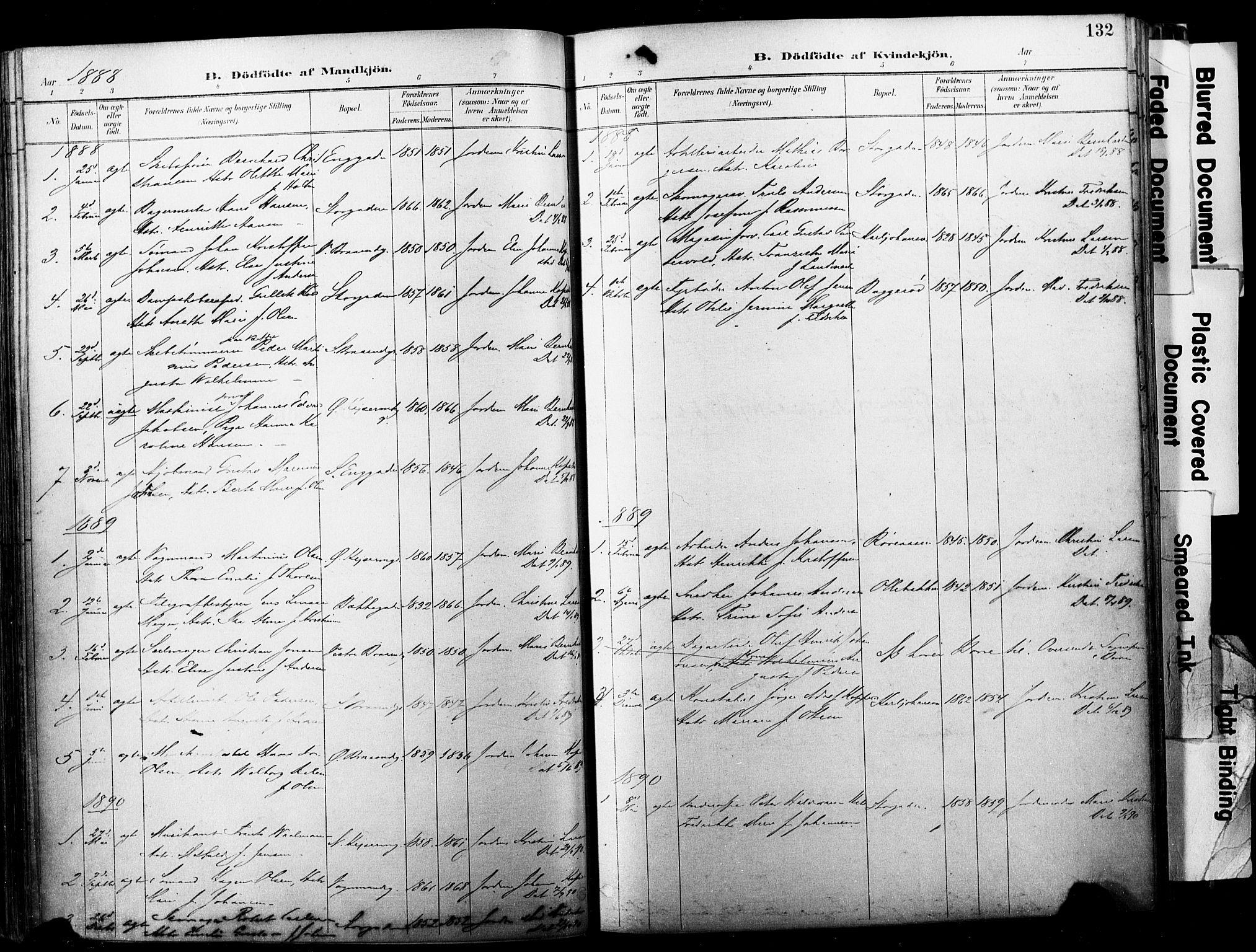 SAKO, Horten kirkebøker, F/Fa/L0004: Ministerialbok nr. 4, 1888-1895, s. 132