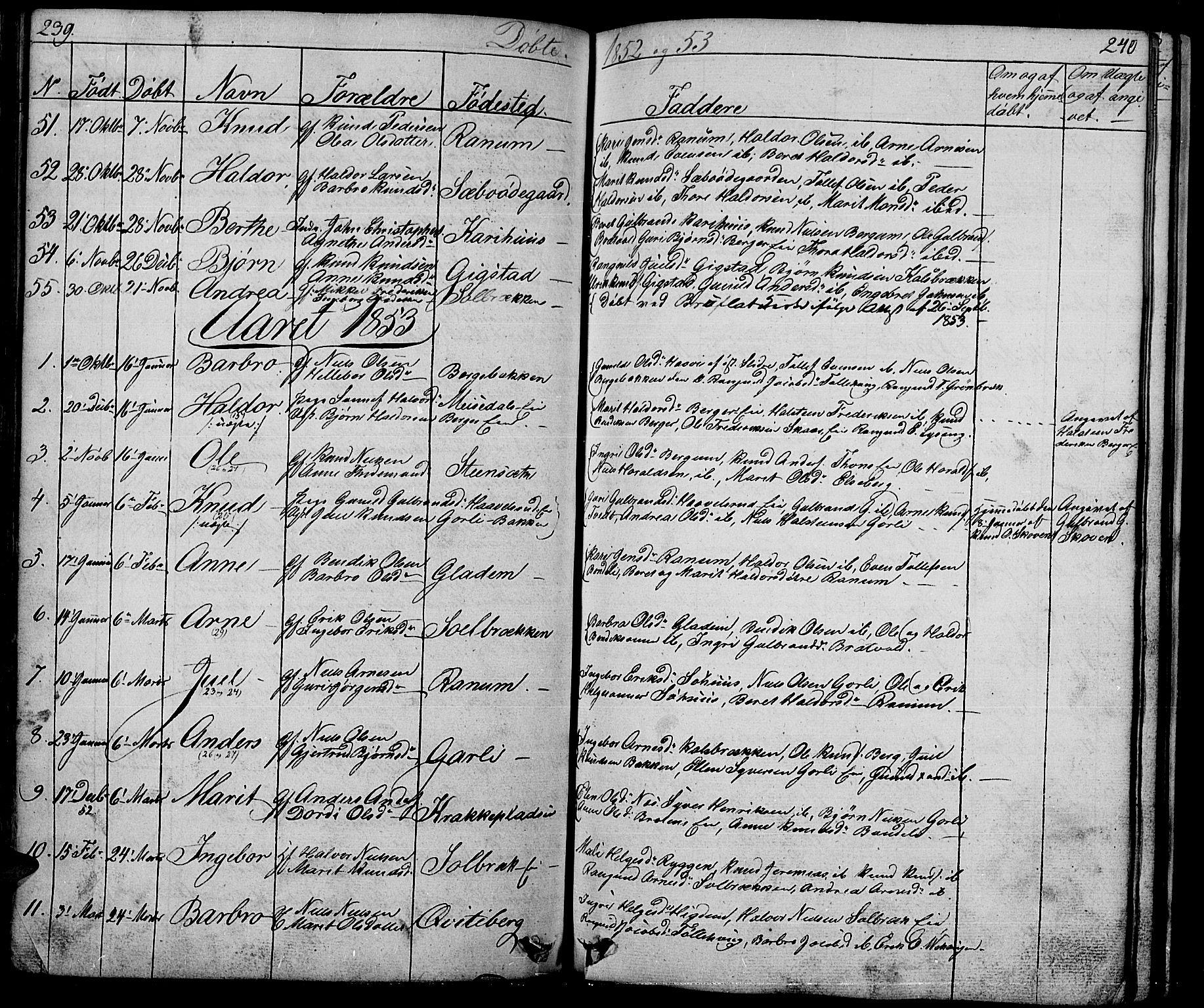 SAH, Nord-Aurdal prestekontor, Klokkerbok nr. 1, 1834-1887, s. 239-240