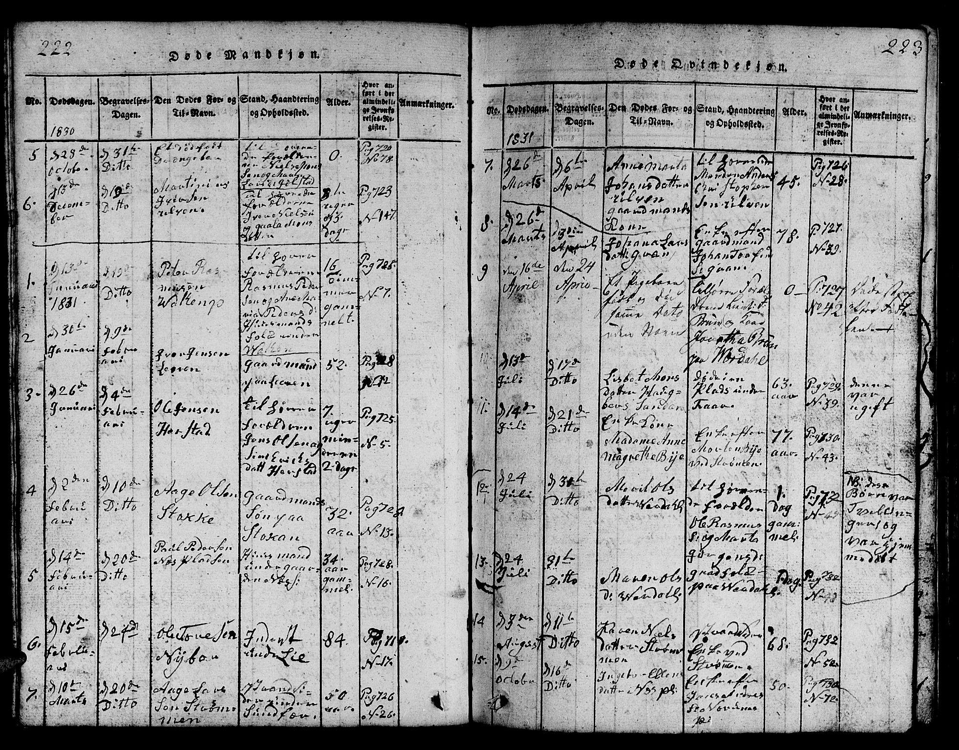 SAT, Ministerialprotokoller, klokkerbøker og fødselsregistre - Nord-Trøndelag, 730/L0298: Klokkerbok nr. 730C01, 1816-1849, s. 222-223
