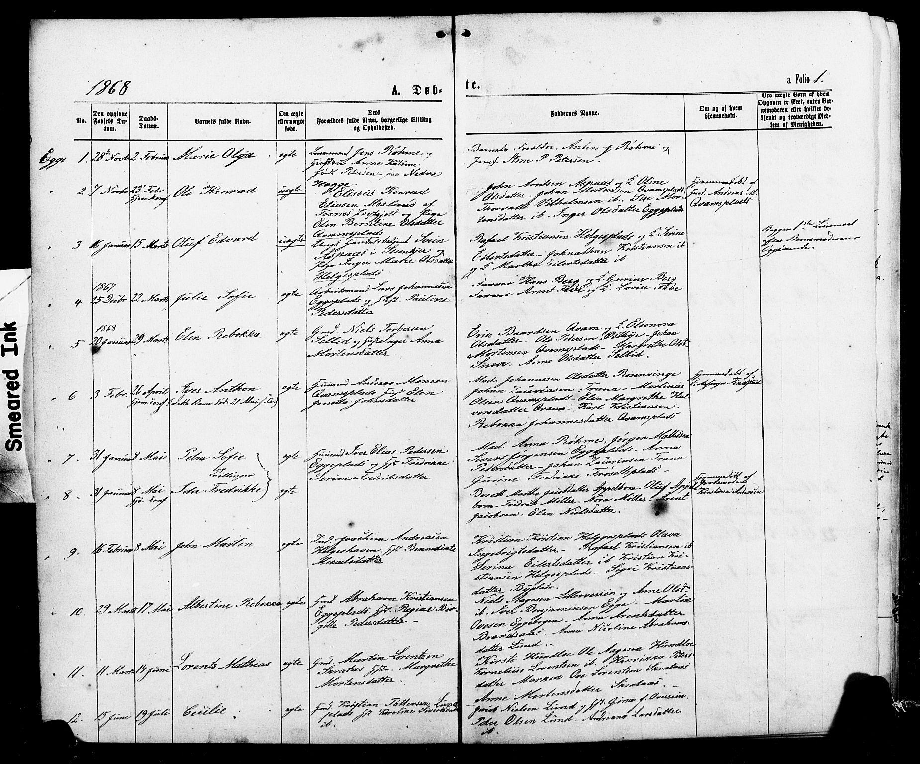 SAT, Ministerialprotokoller, klokkerbøker og fødselsregistre - Nord-Trøndelag, 740/L0380: Klokkerbok nr. 740C01, 1868-1902, s. 1