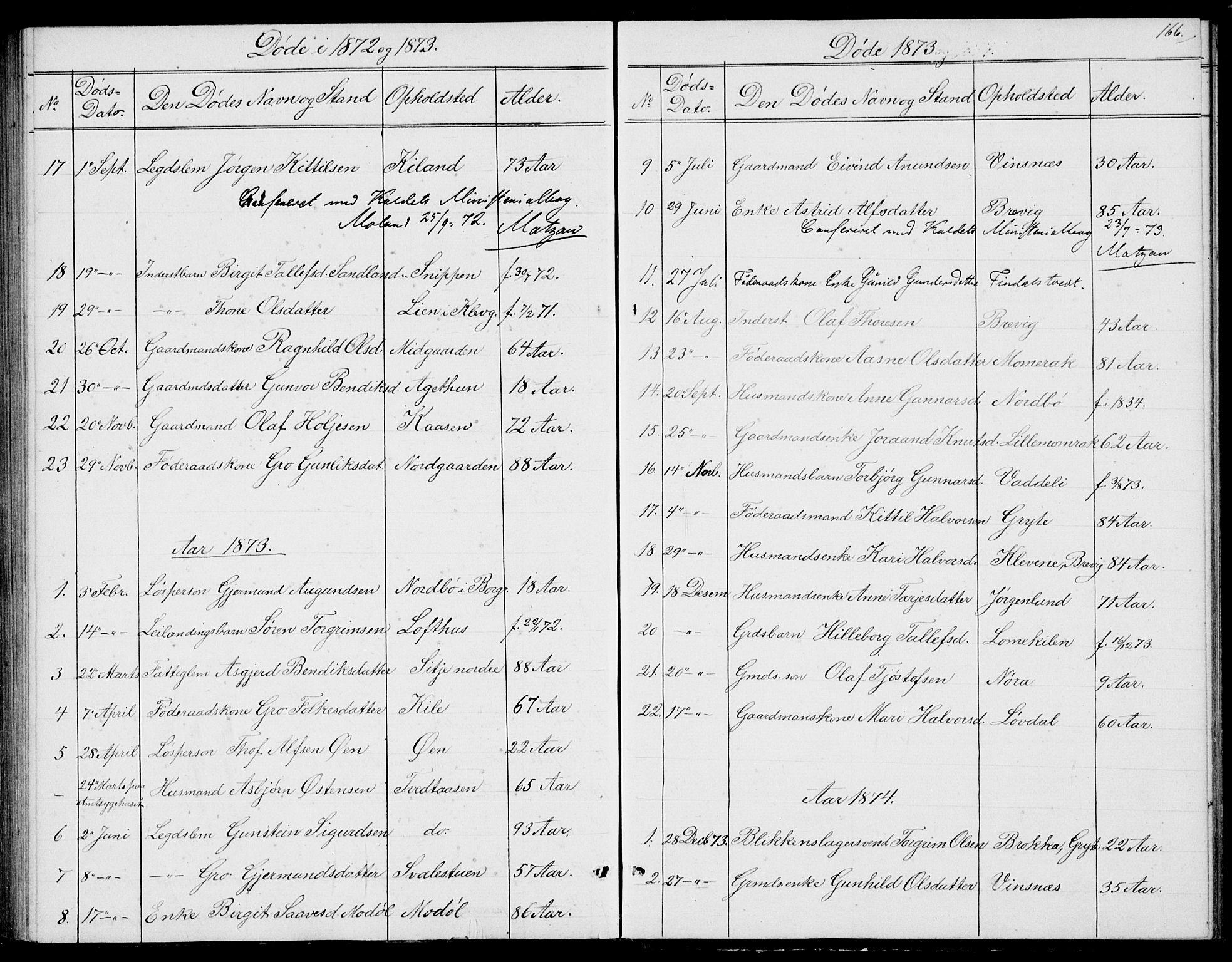 SAKO, Fyresdal kirkebøker, G/Ga/L0004: Klokkerbok nr. I 4, 1864-1892, s. 166
