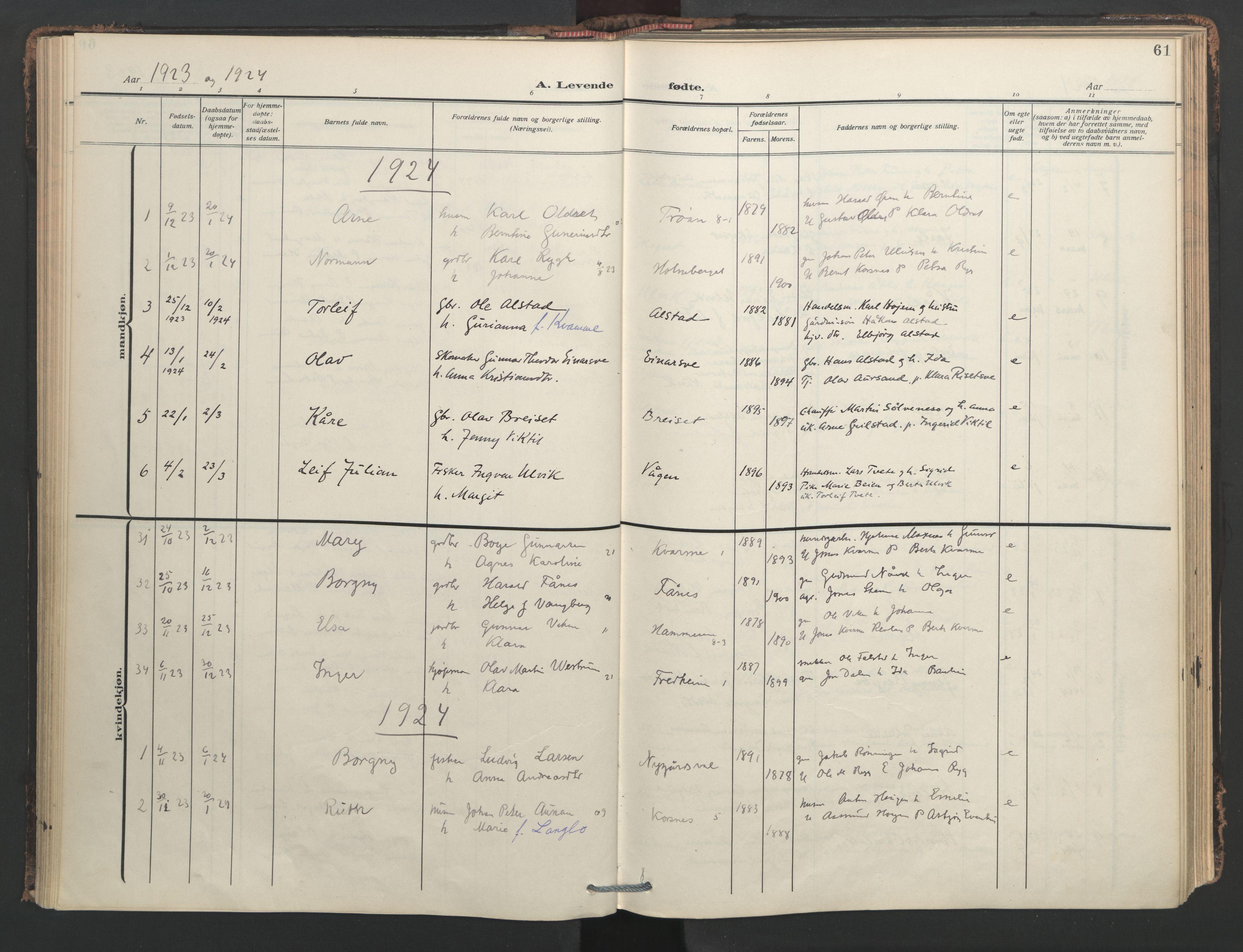 SAT, Ministerialprotokoller, klokkerbøker og fødselsregistre - Nord-Trøndelag, 713/L0123: Ministerialbok nr. 713A12, 1911-1925, s. 61
