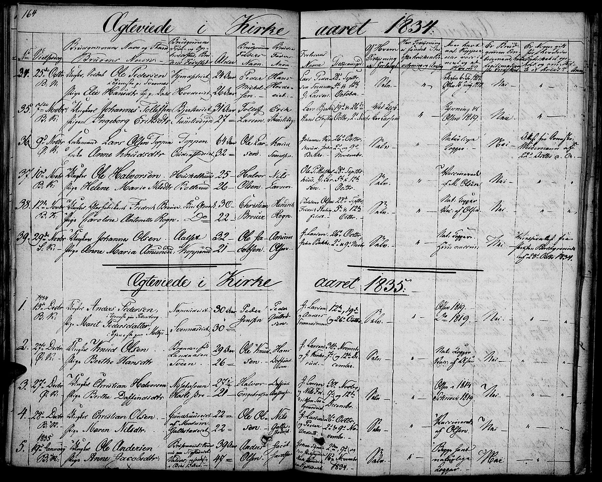 SAH, Biri prestekontor, Ministerialbok nr. 4, 1829-1842, s. 164