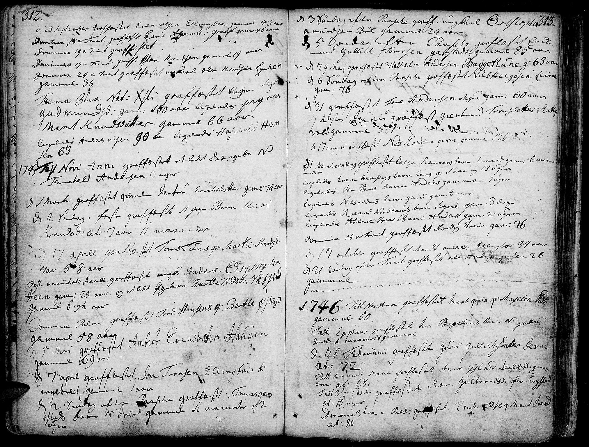 SAH, Vang prestekontor, Valdres, Ministerialbok nr. 1, 1730-1796, s. 312-313