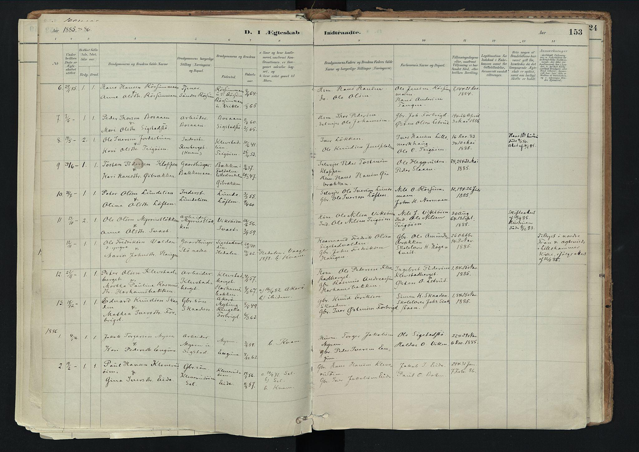 SAH, Nord-Fron prestekontor, Ministerialbok nr. 3, 1884-1914, s. 153