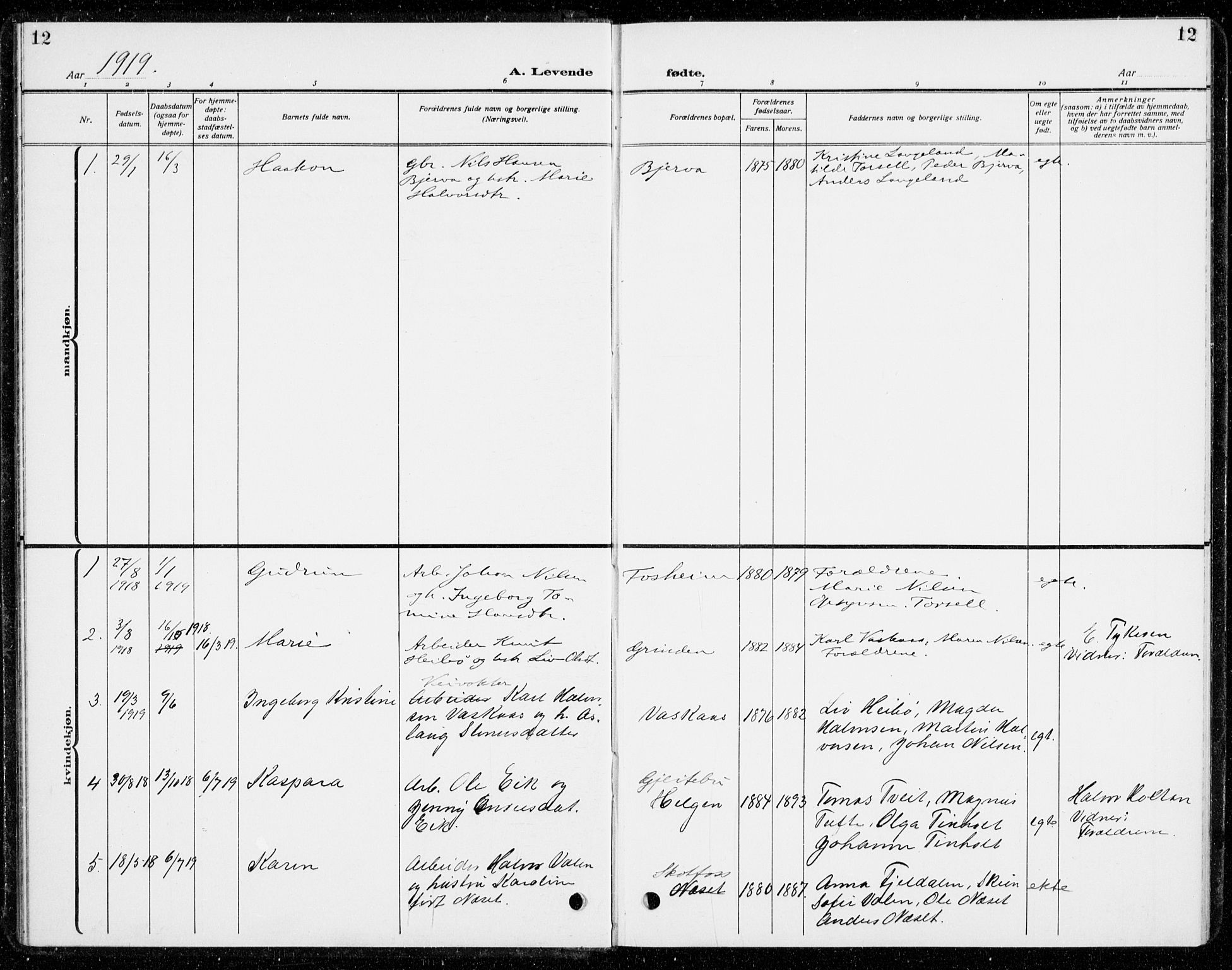 SAKO, Holla kirkebøker, G/Gb/L0003: Klokkerbok nr. II 3, 1914-1941, s. 12