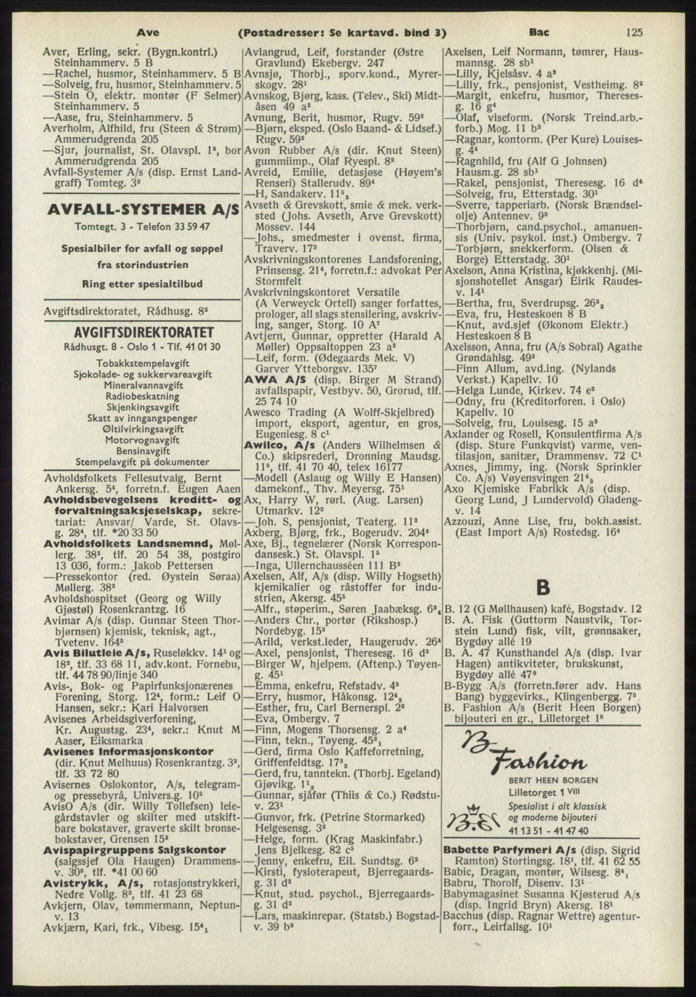 PUBL, Kristiania/Oslo adressebok, 1970-1971, s. 125