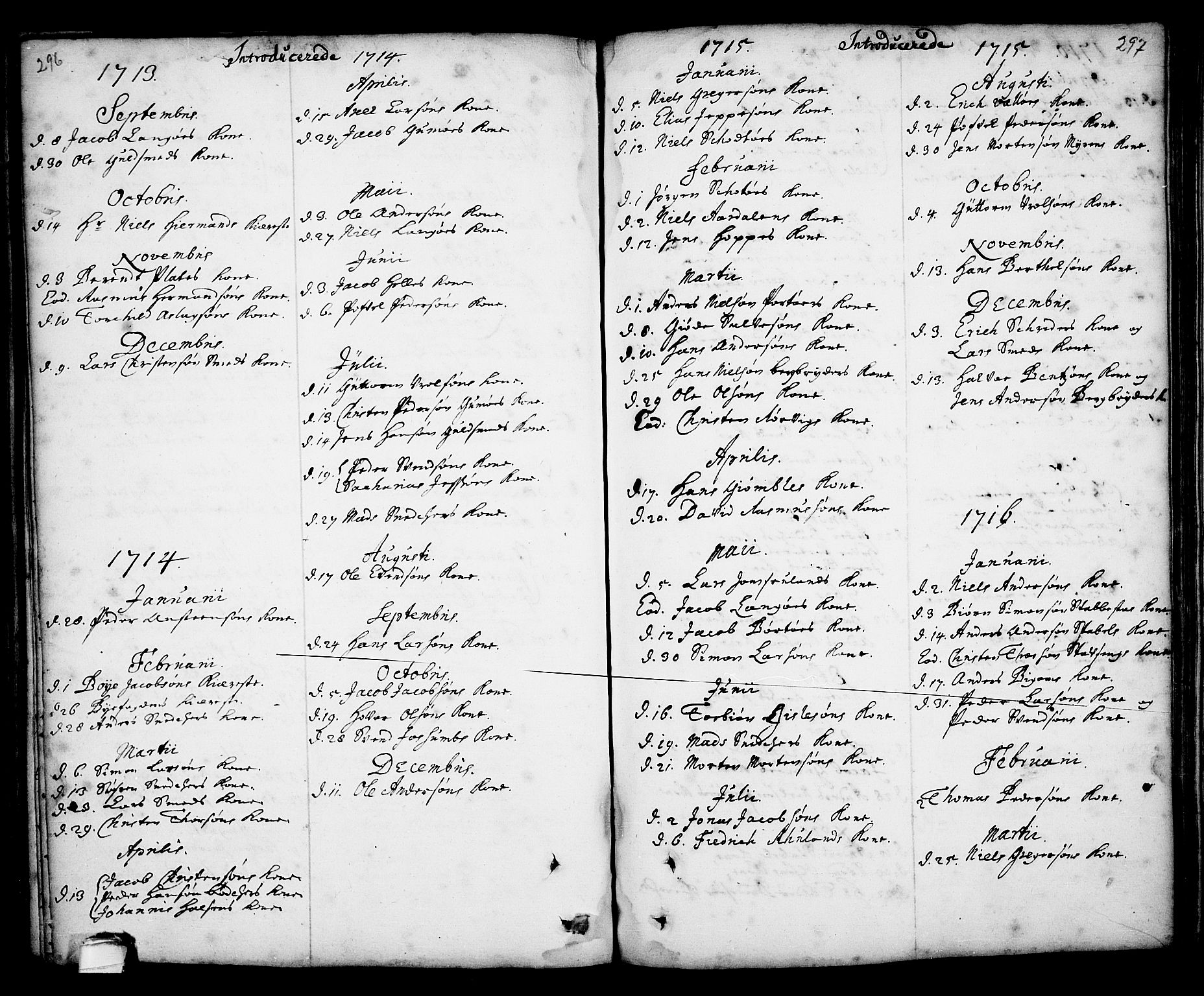 SAKO, Kragerø kirkebøker, F/Fa/L0001: Ministerialbok nr. 1, 1702-1766, s. 296-297