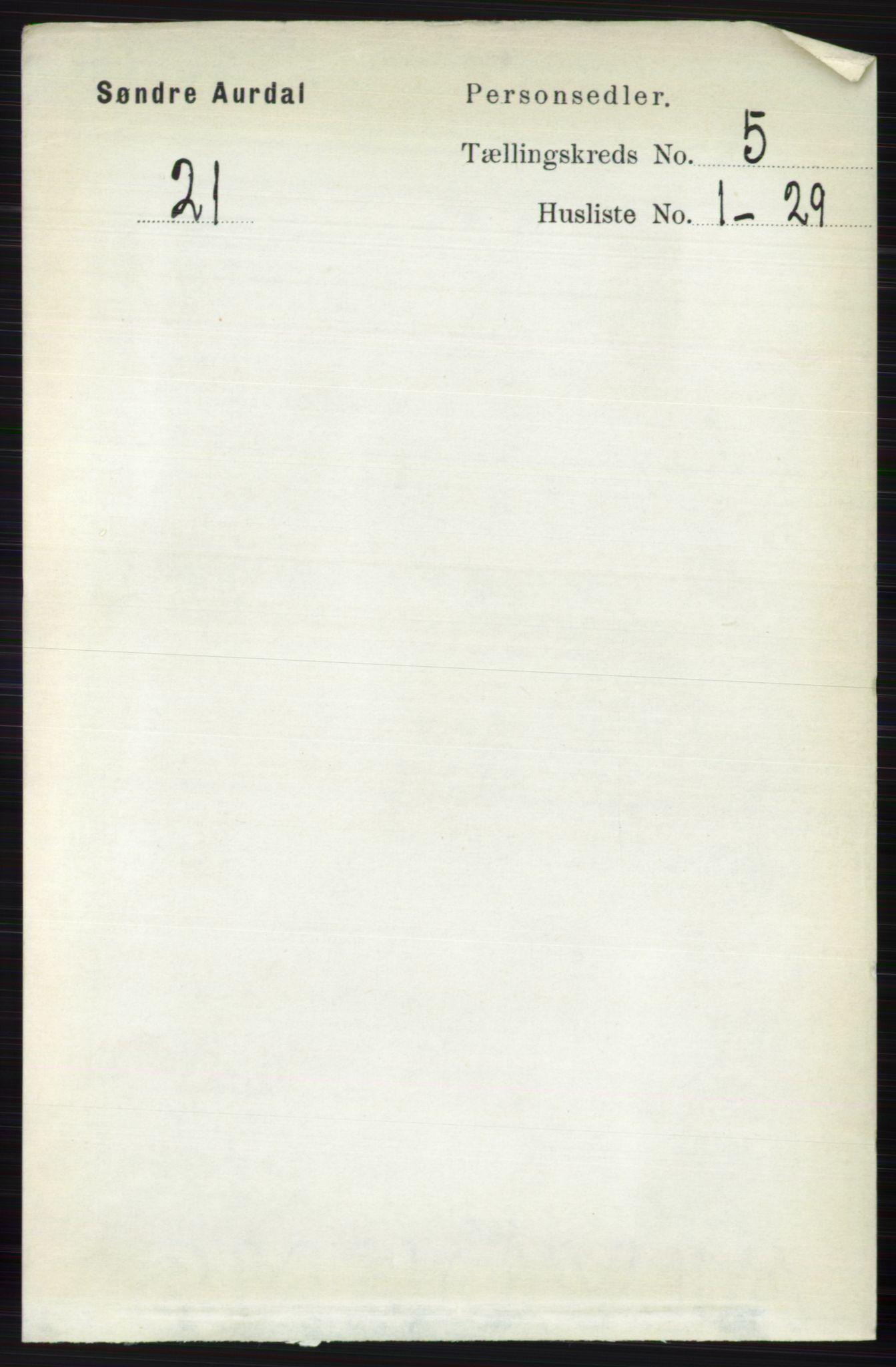 RA, Folketelling 1891 for 0540 Sør-Aurdal herred, 1891, s. 3155