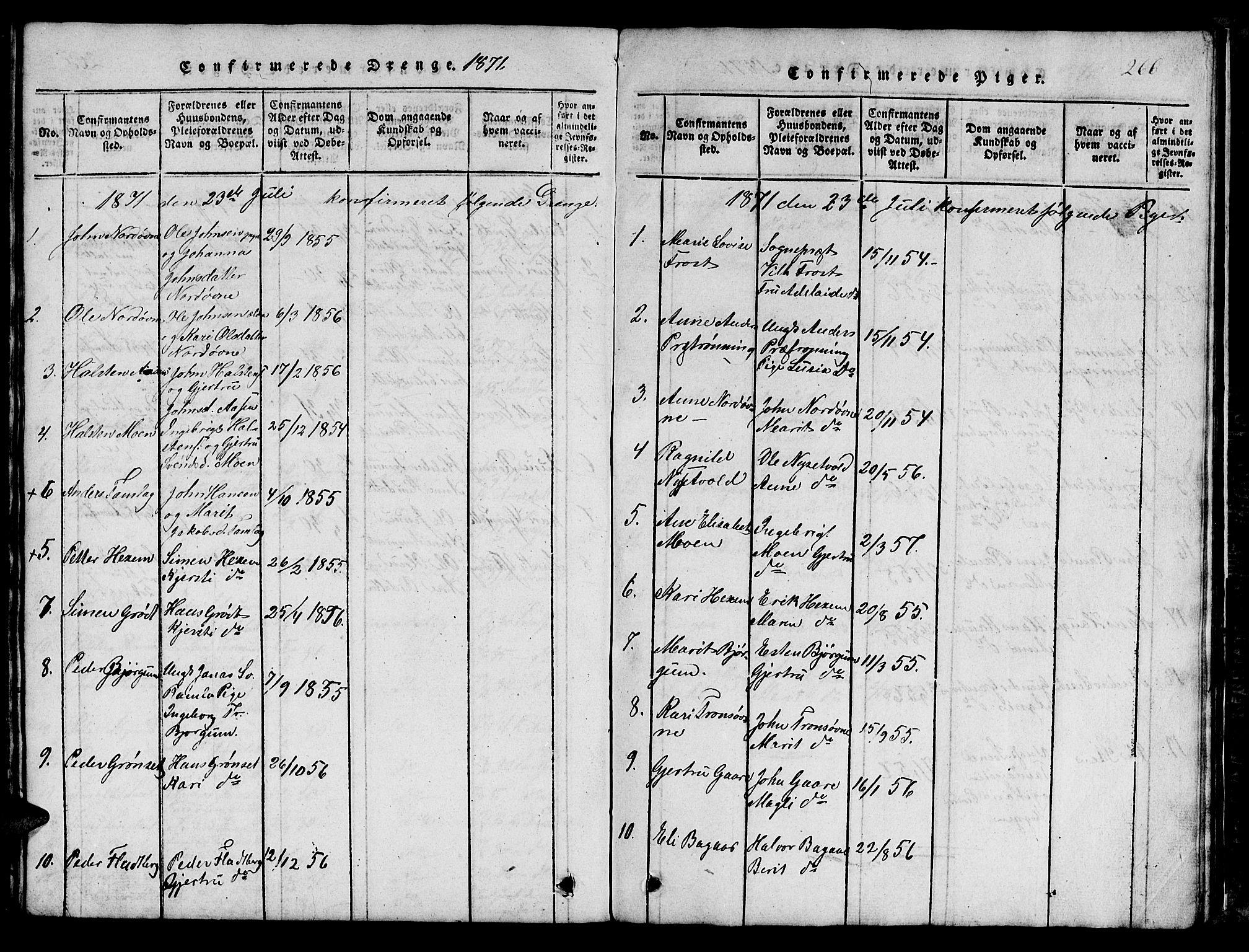 SAT, Ministerialprotokoller, klokkerbøker og fødselsregistre - Sør-Trøndelag, 685/L0976: Klokkerbok nr. 685C01, 1817-1878, s. 266
