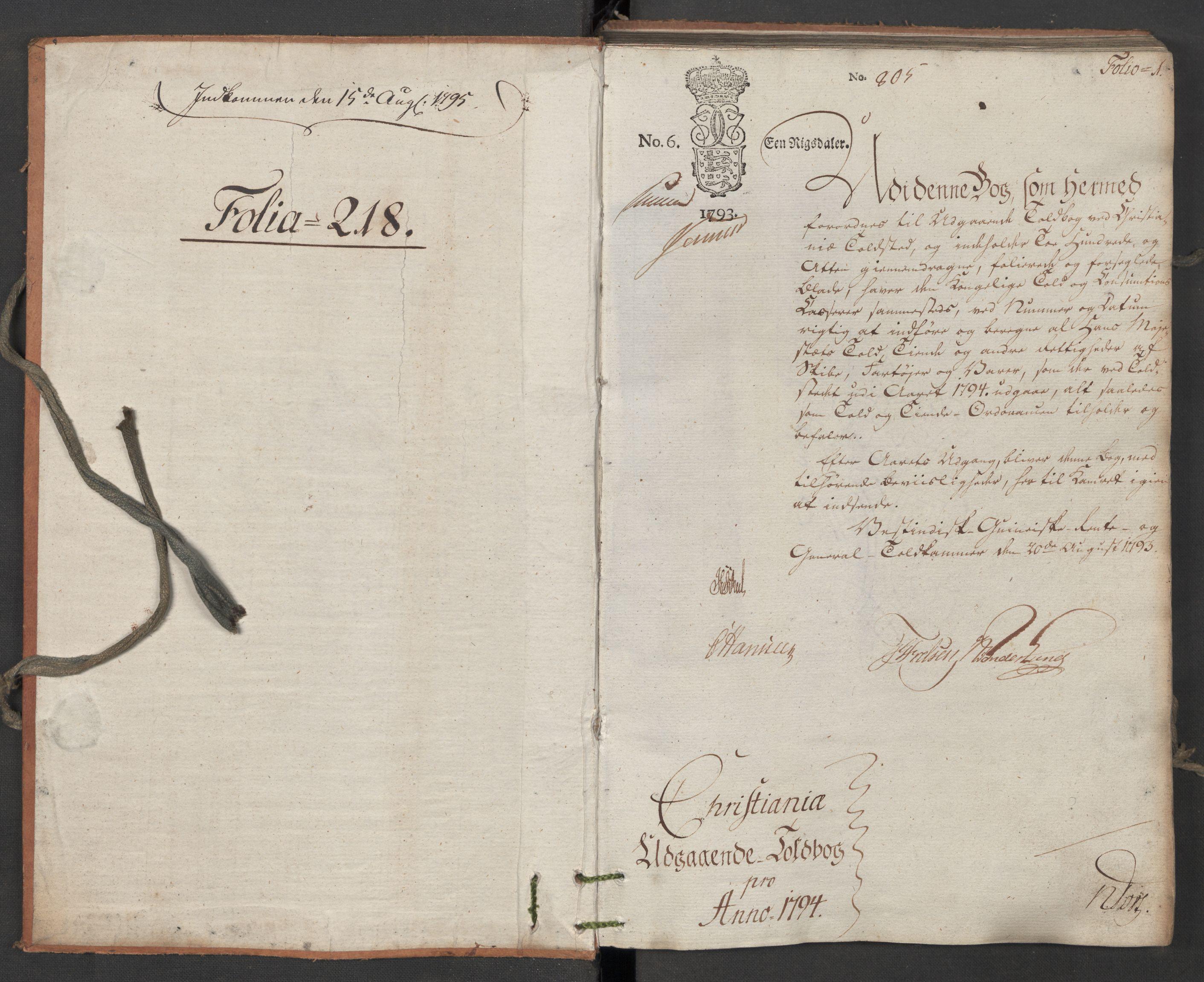 RA, Generaltollkammeret, tollregnskaper, R06/L0196: Tollregnskaper Kristiania, 1794