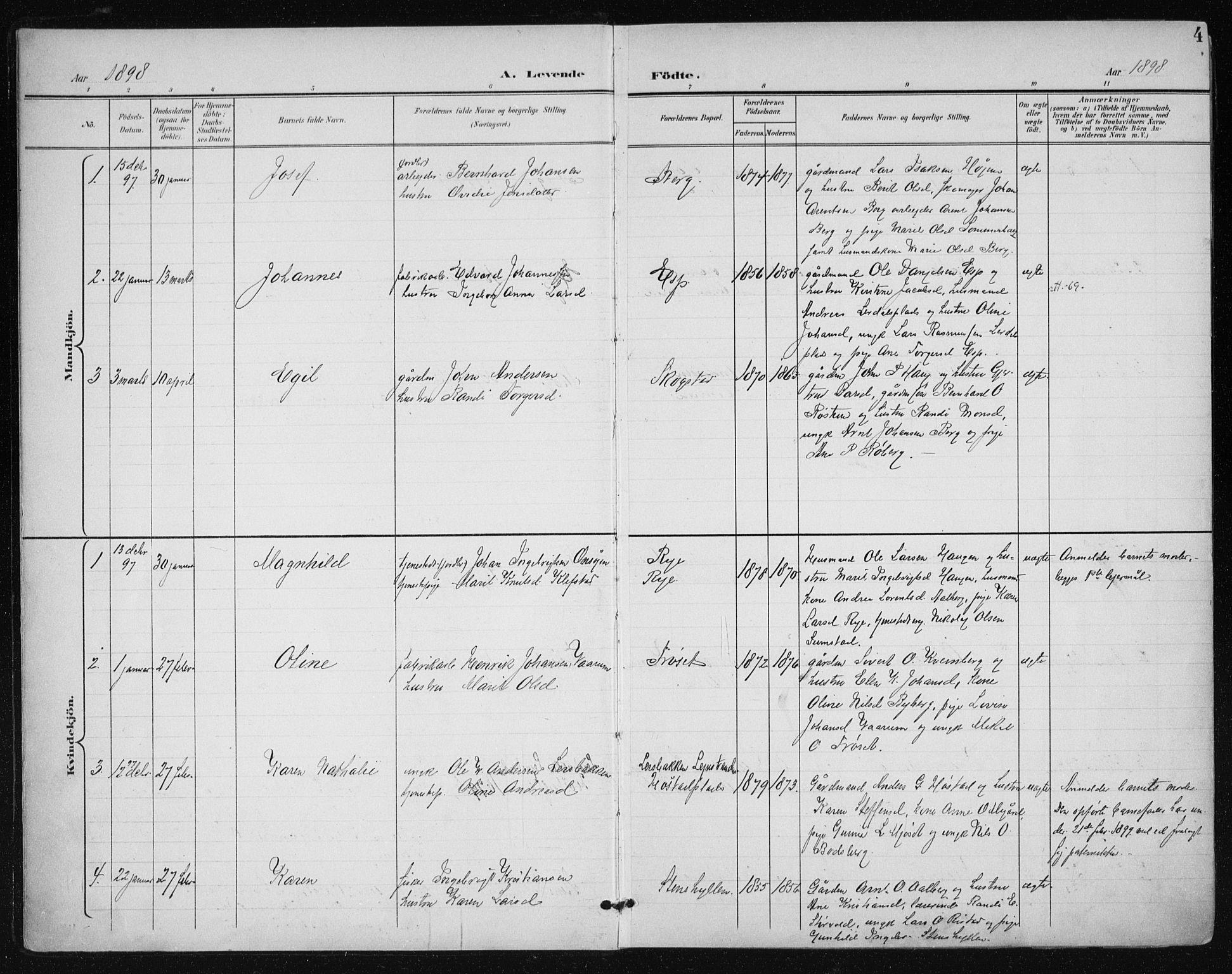 SAT, Ministerialprotokoller, klokkerbøker og fødselsregistre - Sør-Trøndelag, 612/L0380: Ministerialbok nr. 612A12, 1898-1907, s. 4