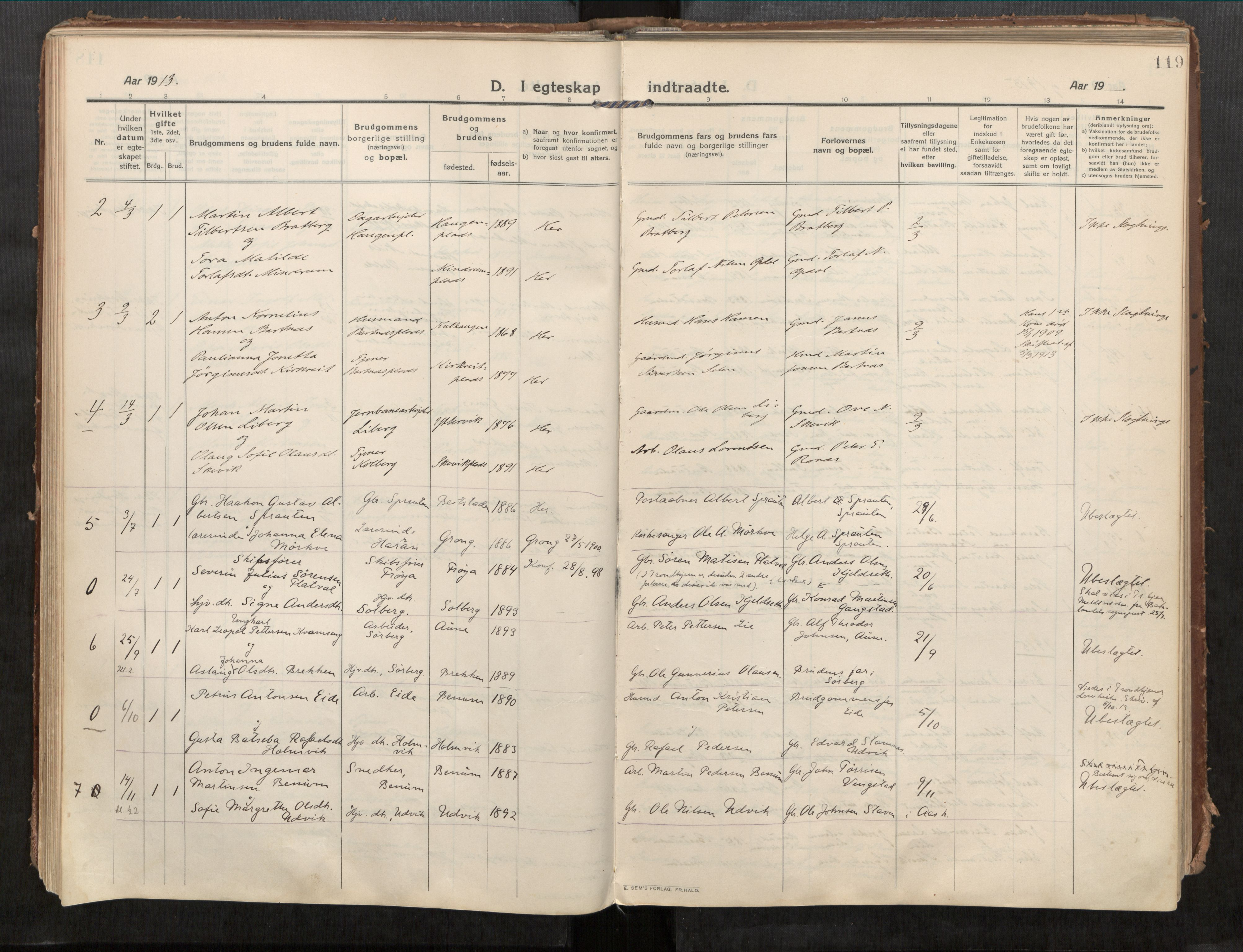 SAT, Beitstad sokneprestkontor, I/I1/I1a/L0001: Ministerialbok nr. 1, 1912-1927, s. 119