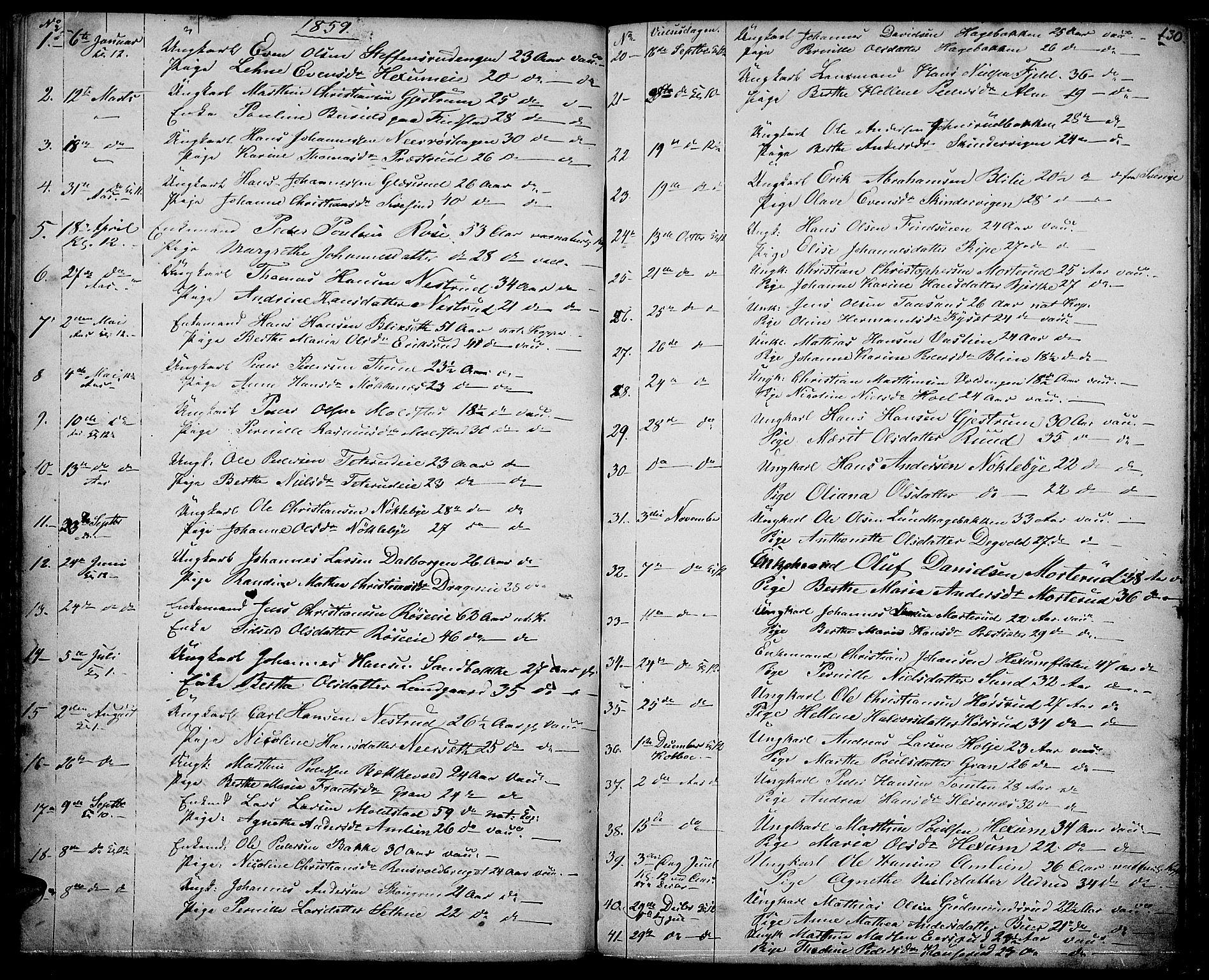 SAH, Vestre Toten prestekontor, H/Ha/Hab/L0005: Klokkerbok nr. 5, 1854-1870, s. 130