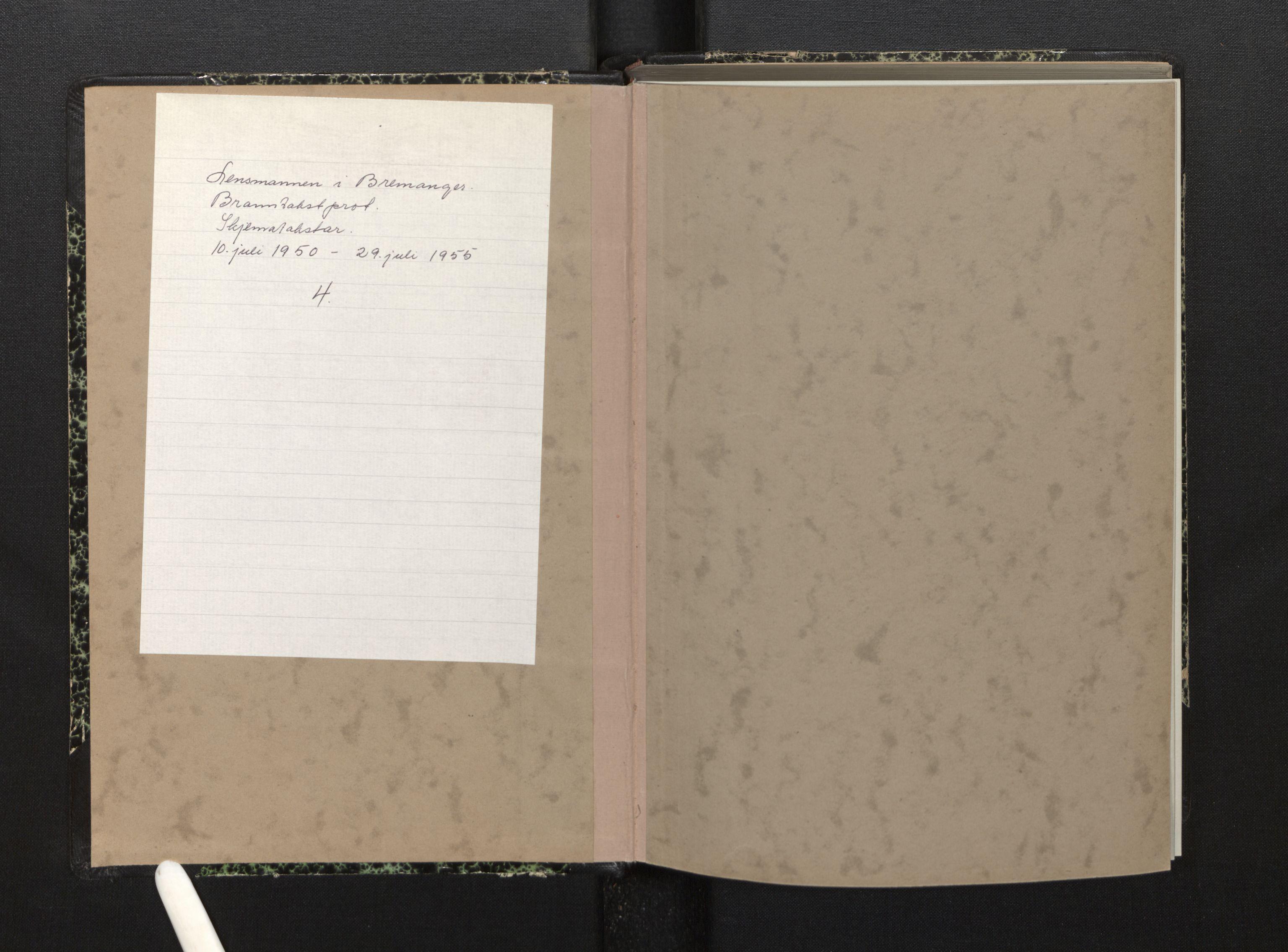 SAB, Lensmannen i Bremanger, 0012/L0010: Branntakstprotokoll, skjematakst, 1950-1955