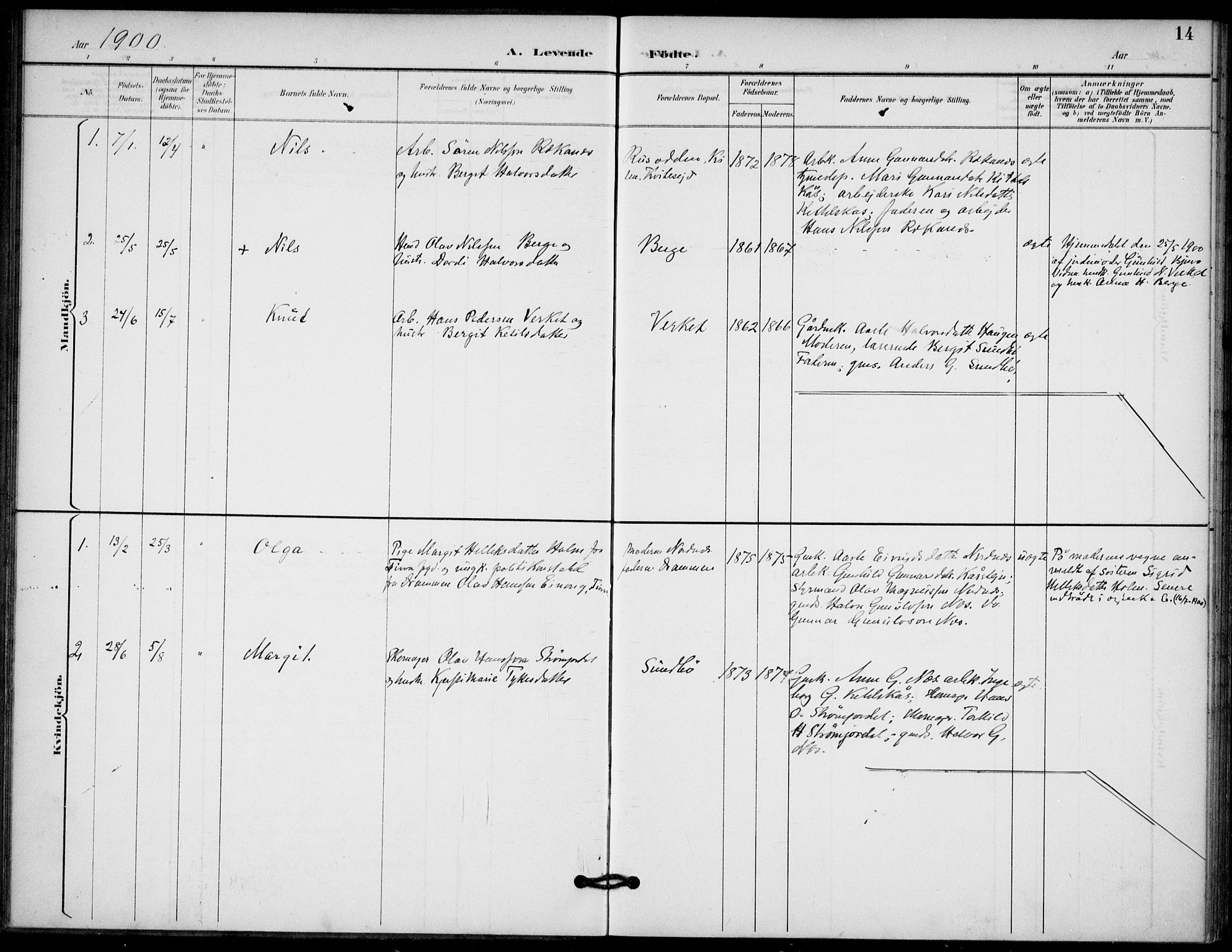 SAKO, Lunde kirkebøker, F/Fb/L0004: Ministerialbok nr. II 4, 1892-1907, s. 14