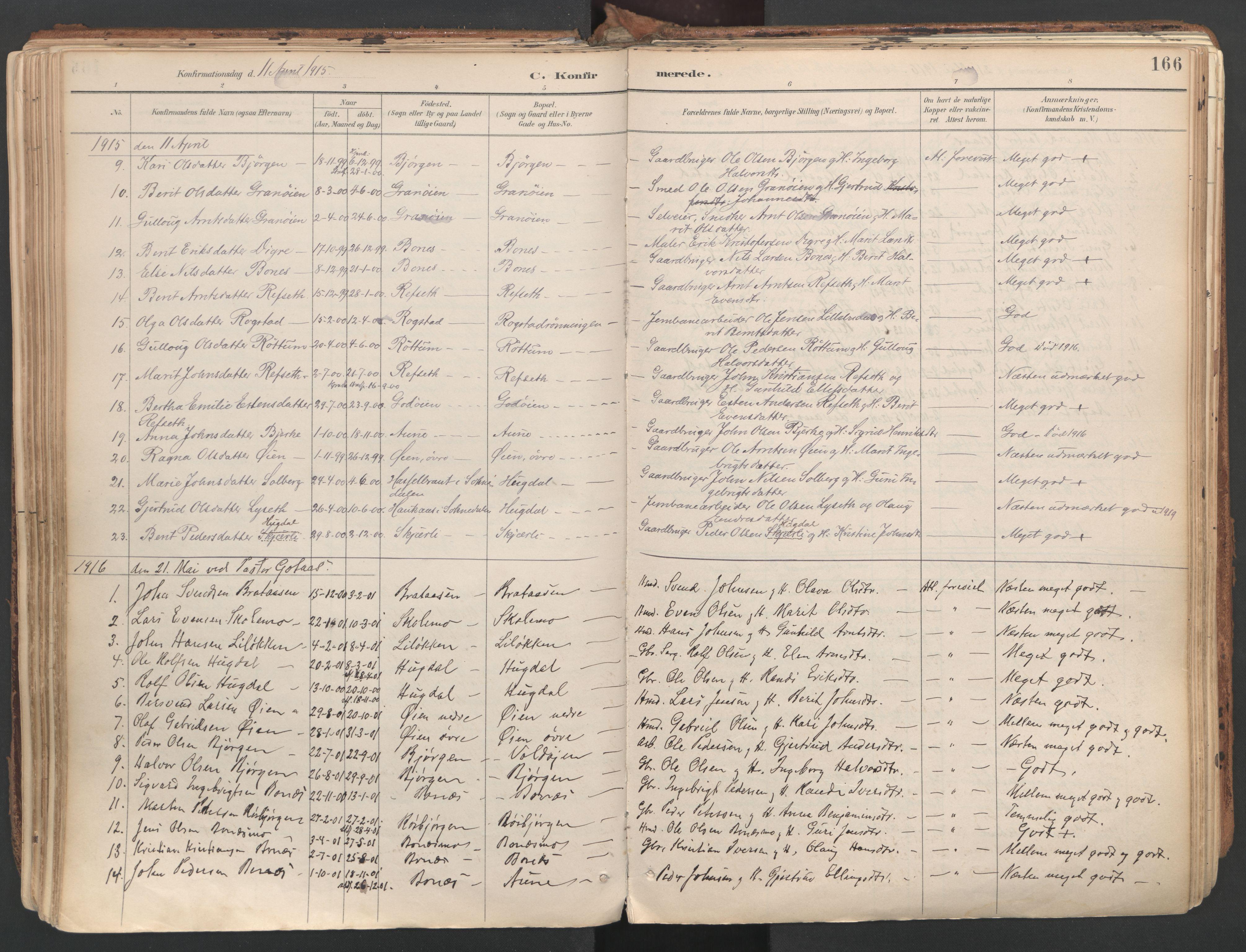 SAT, Ministerialprotokoller, klokkerbøker og fødselsregistre - Sør-Trøndelag, 687/L1004: Ministerialbok nr. 687A10, 1891-1923, s. 166