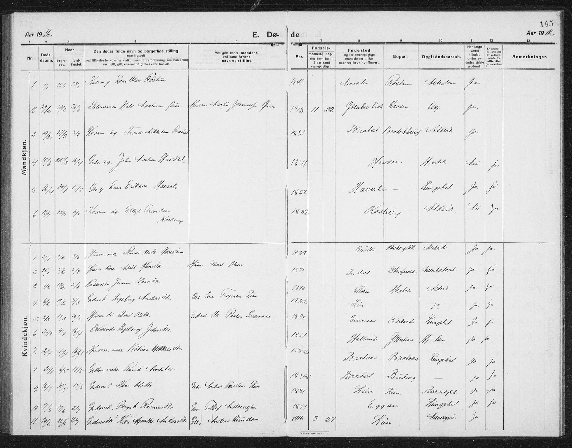 SAT, Ministerialprotokoller, klokkerbøker og fødselsregistre - Sør-Trøndelag, 675/L0888: Klokkerbok nr. 675C01, 1913-1935, s. 145