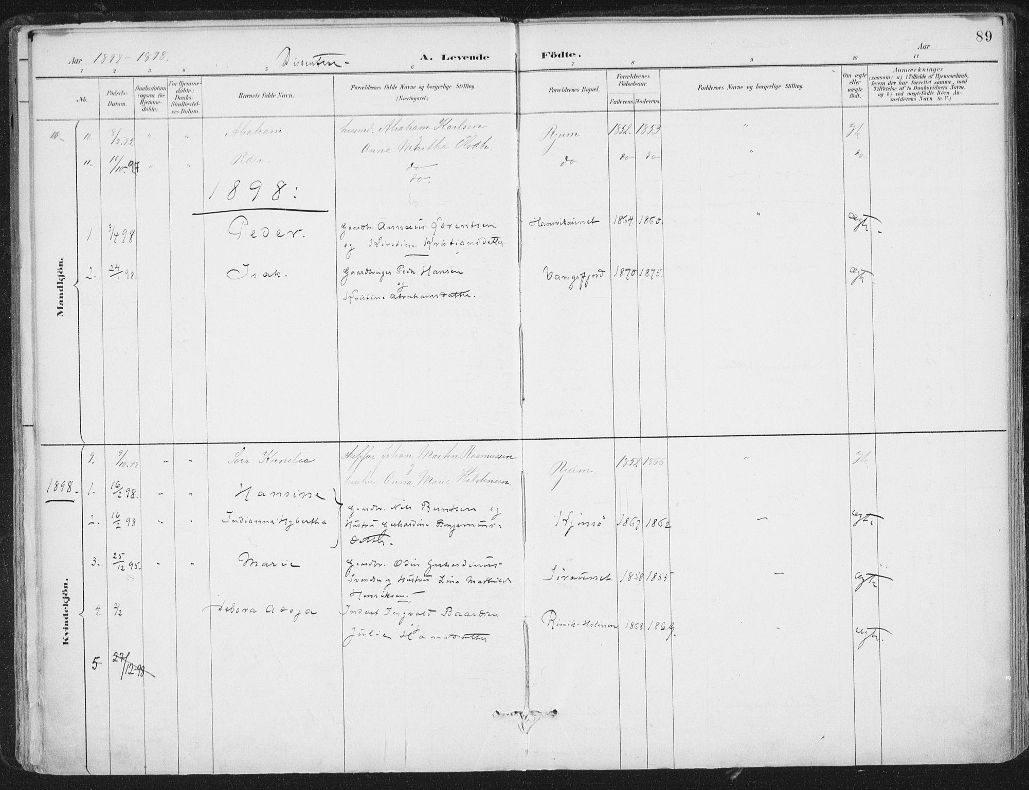 SAT, Ministerialprotokoller, klokkerbøker og fødselsregistre - Nord-Trøndelag, 786/L0687: Ministerialbok nr. 786A03, 1888-1898, s. 89