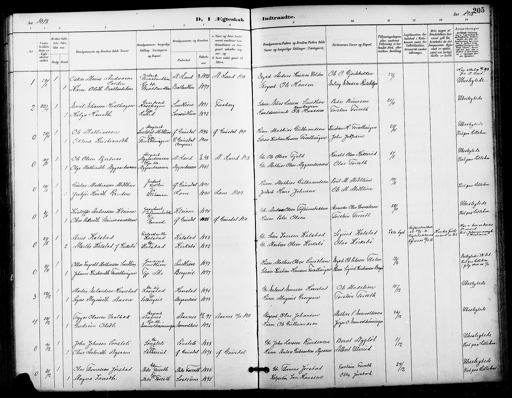 SAH, Vestre Gausdal prestekontor, Klokkerbok nr. 3, 1896-1925, s. 205