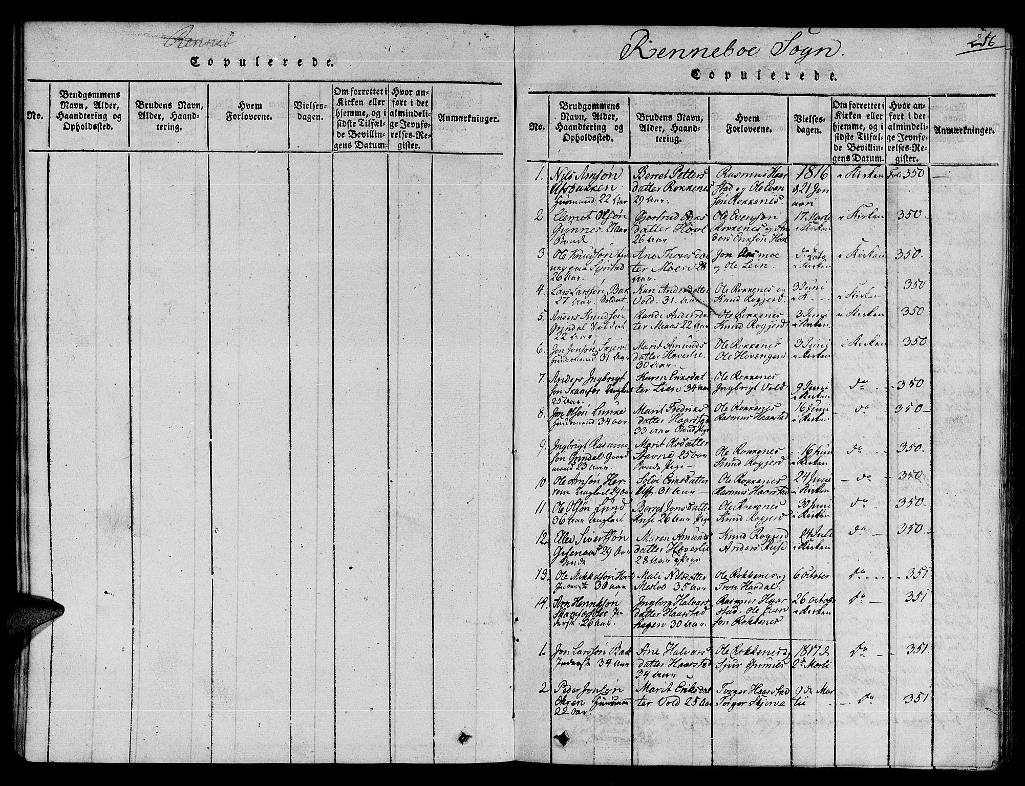 SAT, Ministerialprotokoller, klokkerbøker og fødselsregistre - Sør-Trøndelag, 672/L0854: Ministerialbok nr. 672A06 /2, 1816-1829, s. 216