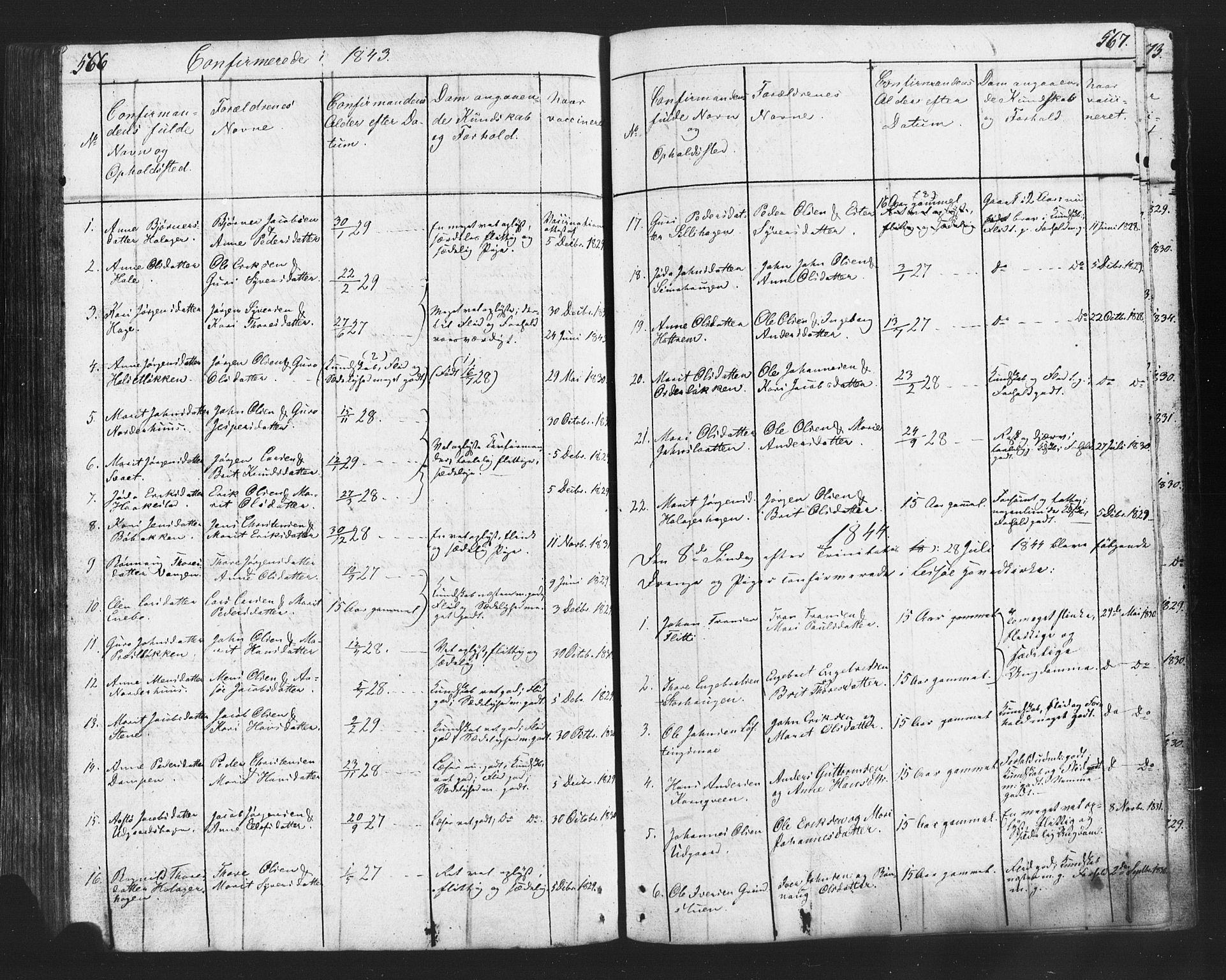 SAH, Lesja prestekontor, Klokkerbok nr. 2, 1832-1850, s. 566-567