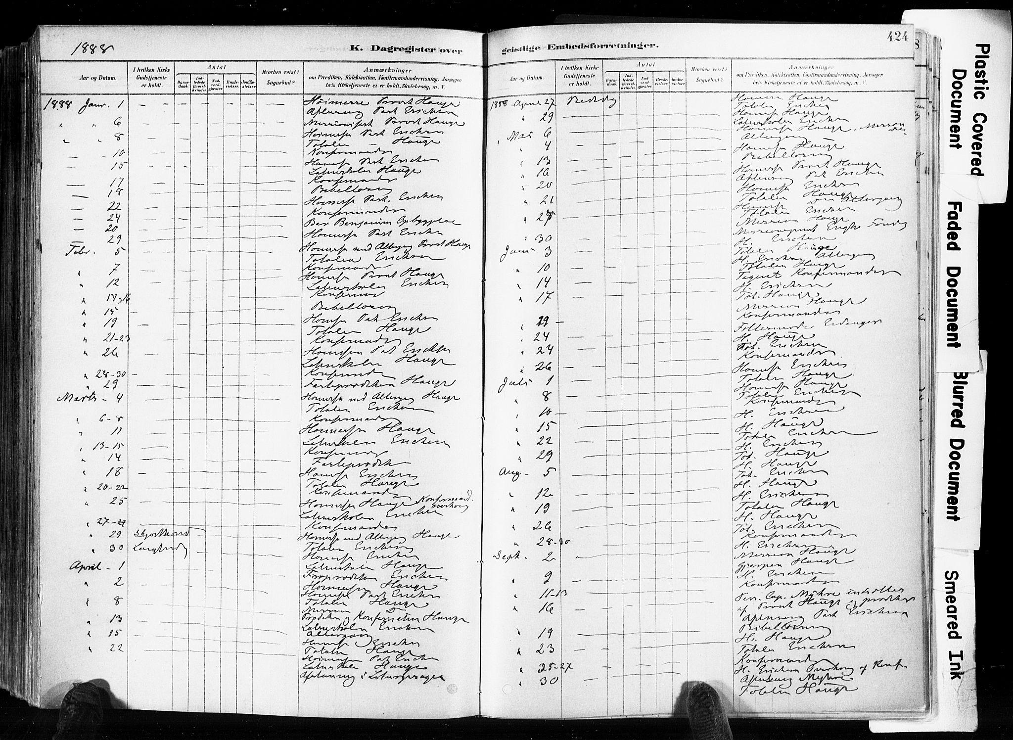 SAKO, Skien kirkebøker, F/Fa/L0009: Ministerialbok nr. 9, 1878-1890, s. 424
