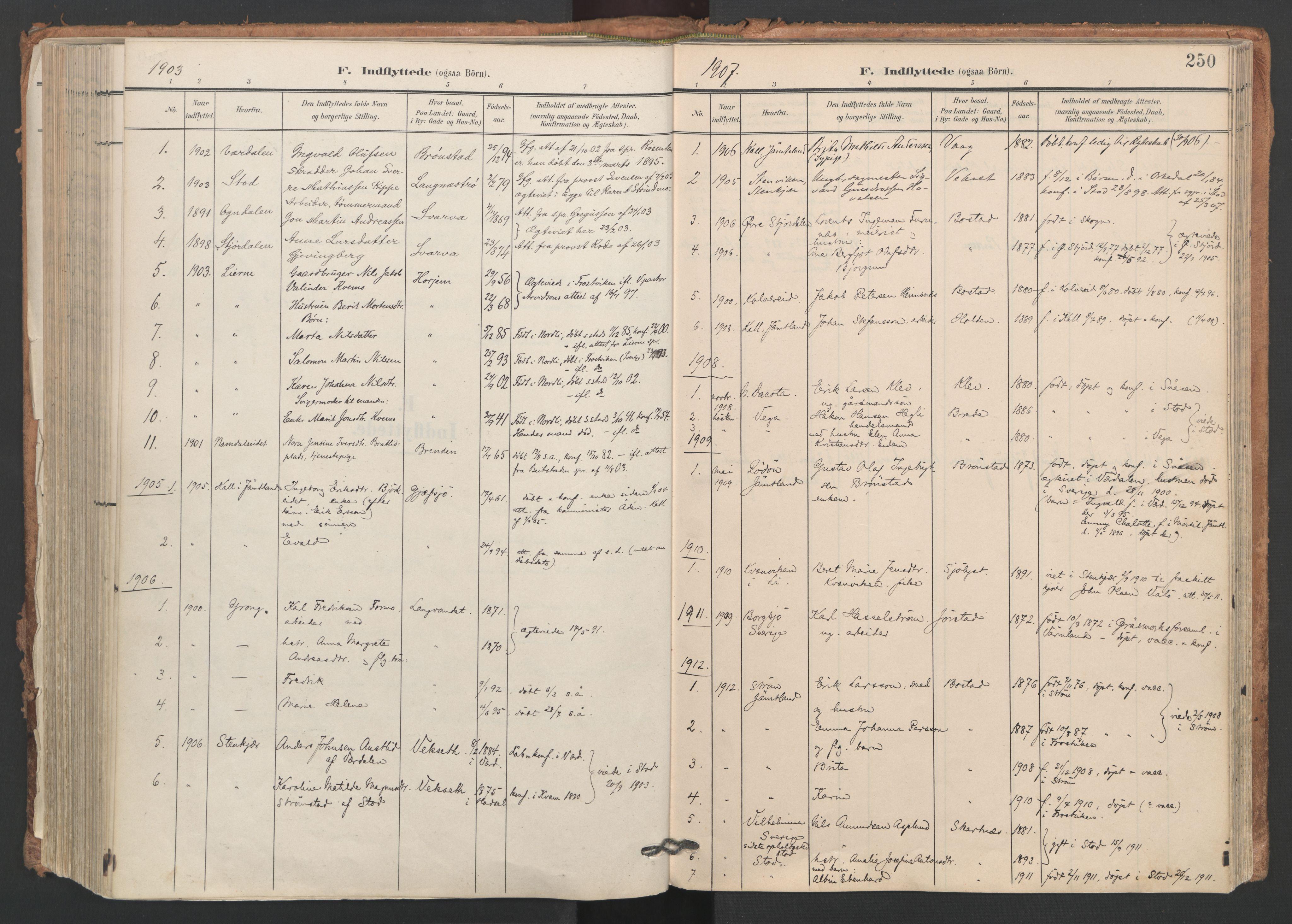 SAT, Ministerialprotokoller, klokkerbøker og fødselsregistre - Nord-Trøndelag, 749/L0477: Ministerialbok nr. 749A11, 1902-1927, s. 250