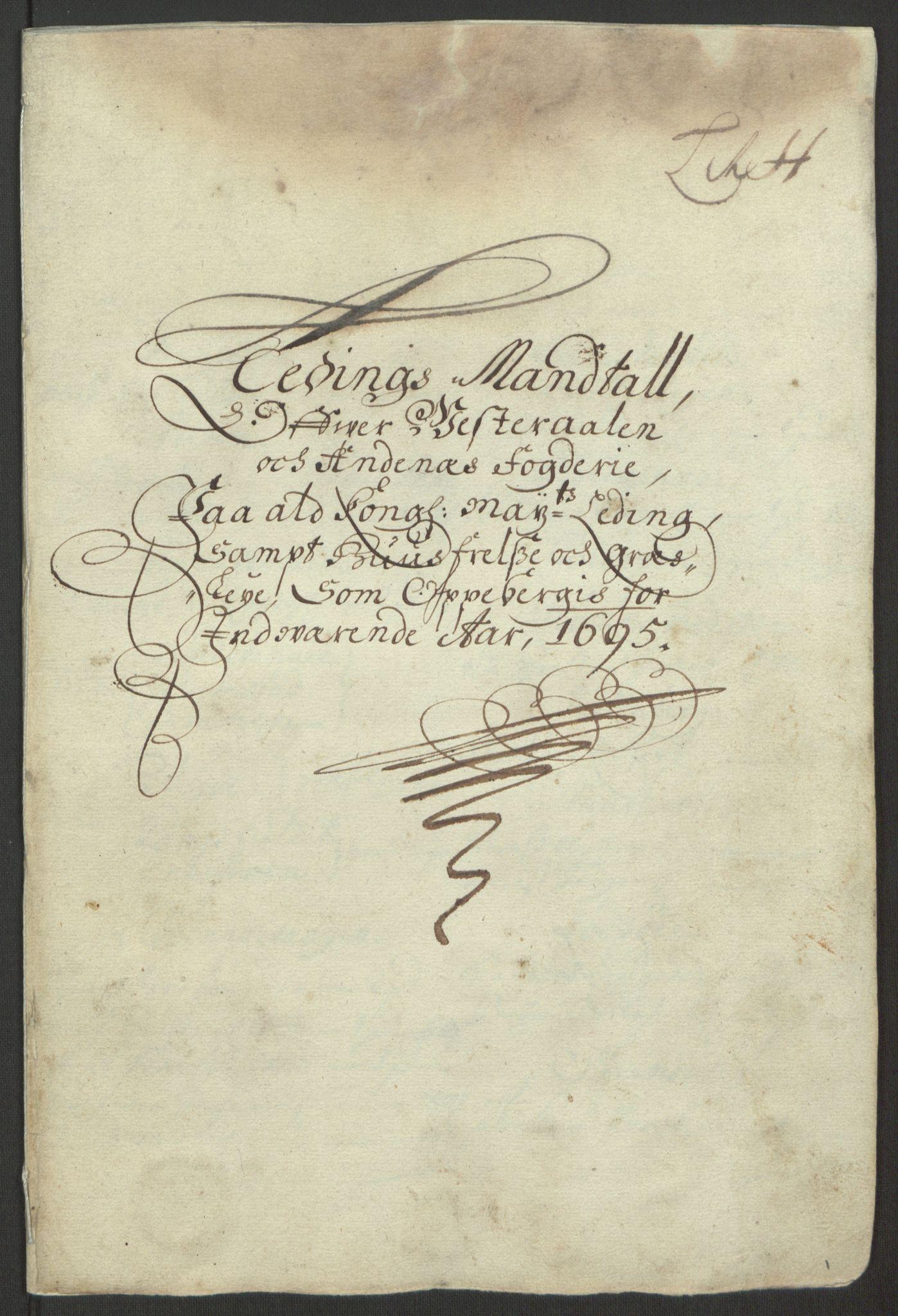 RA, Rentekammeret inntil 1814, Reviderte regnskaper, Fogderegnskap, R67/L4677: Fogderegnskap Vesterålen, Andenes og Lofoten, 1694-1695, s. 277