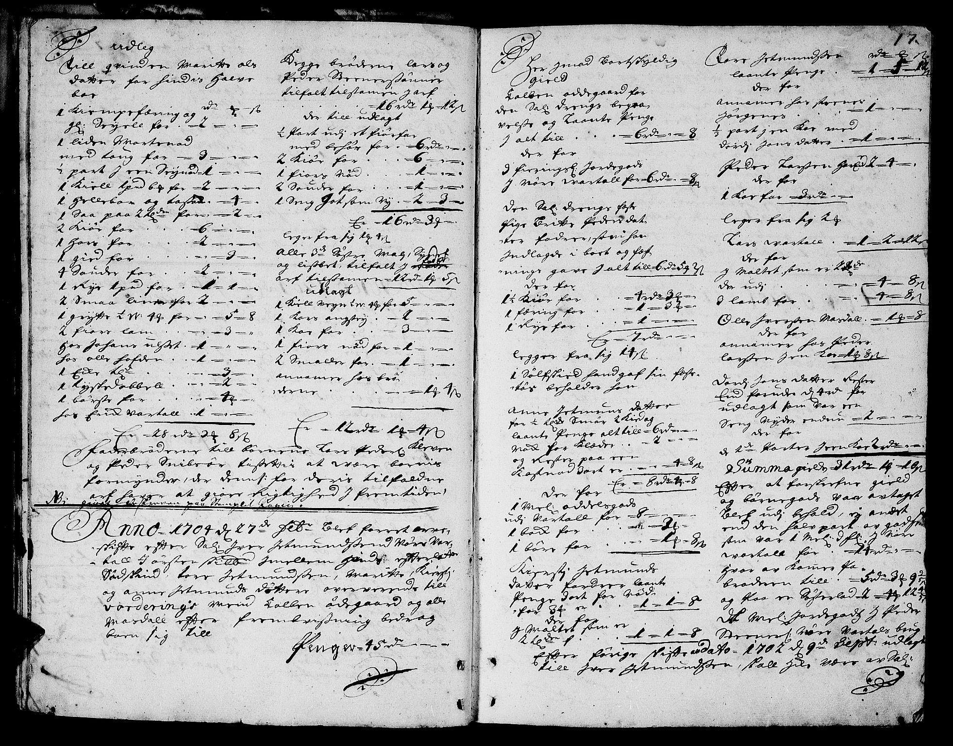 SAT, Sunnmøre sorenskriveri, 3/3A/L0002: Skifteprotokoll 02A, 1703-1707, s. 16b-17a